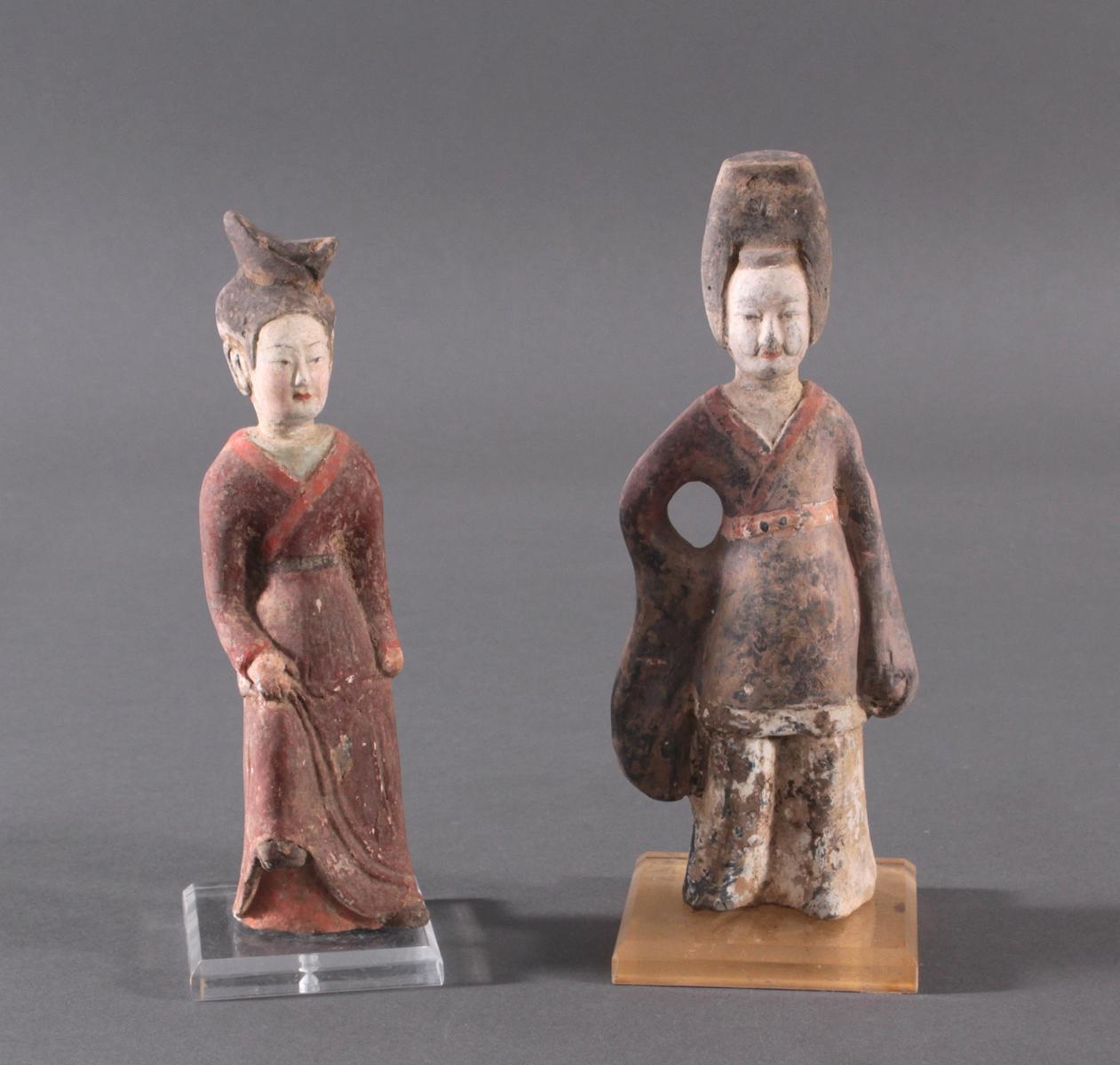 China TANG-Dynastie, 2 Figuren aus Ton