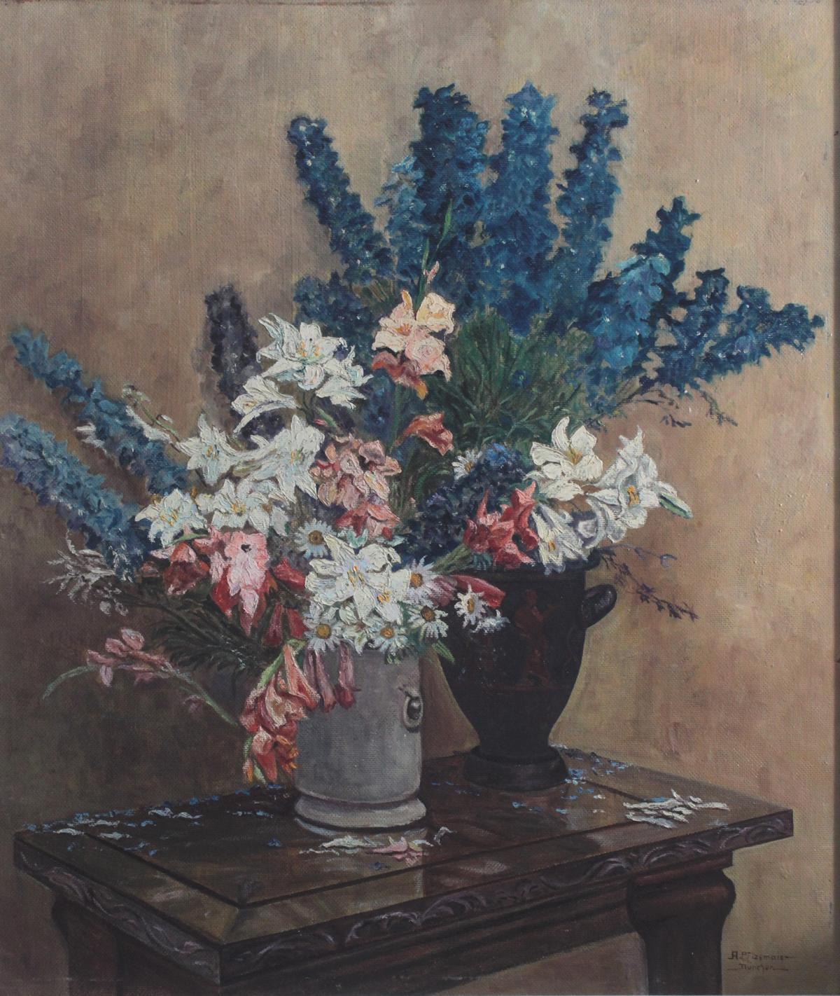 A. Pfizemaier, 'Stillleben mit zwei Vasen und Blumen', 20. Jahrhundert-2