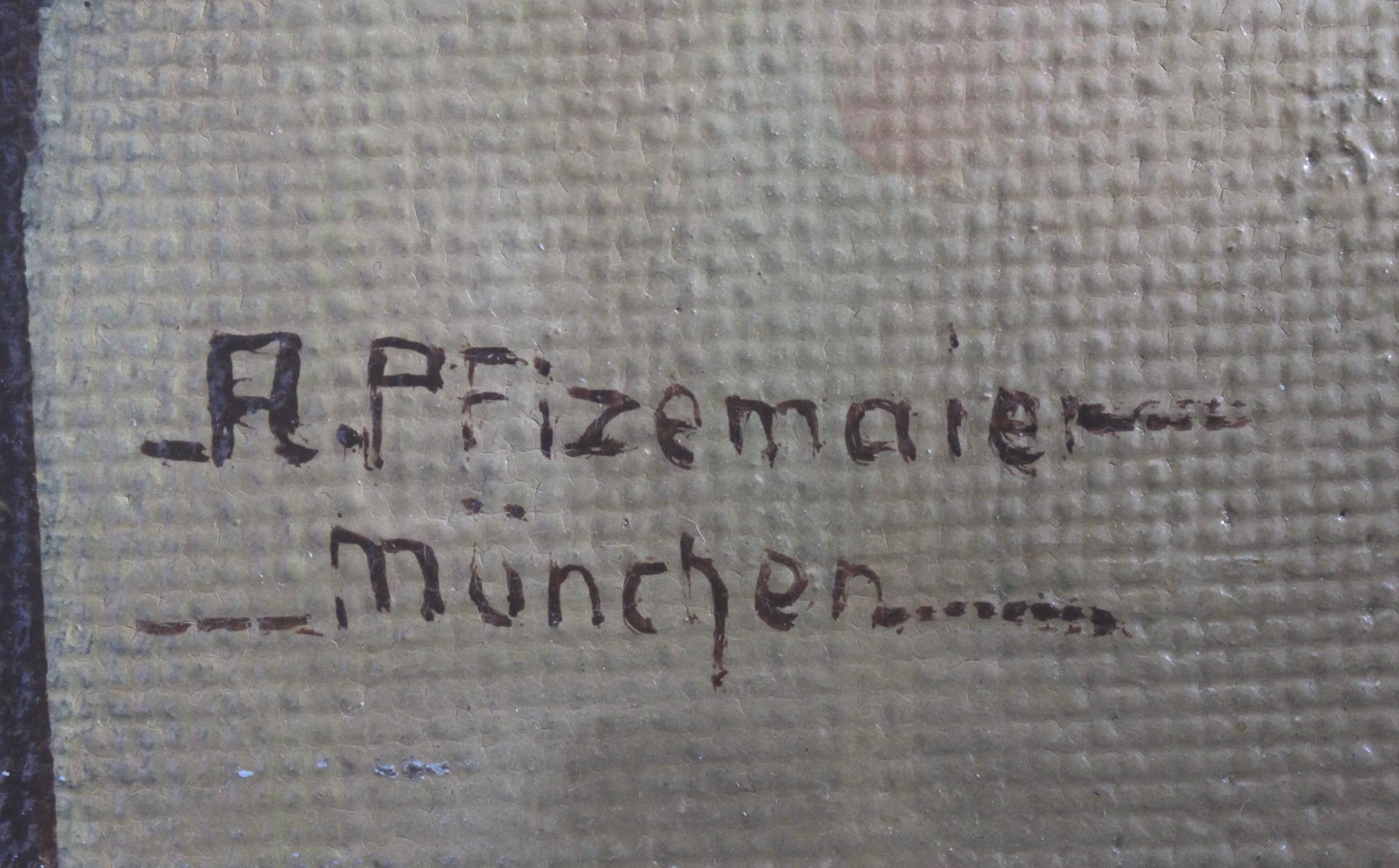 A. Pfizemaier, 'Stillleben mit zwei Vasen und Blumen', 20. Jahrhundert-3