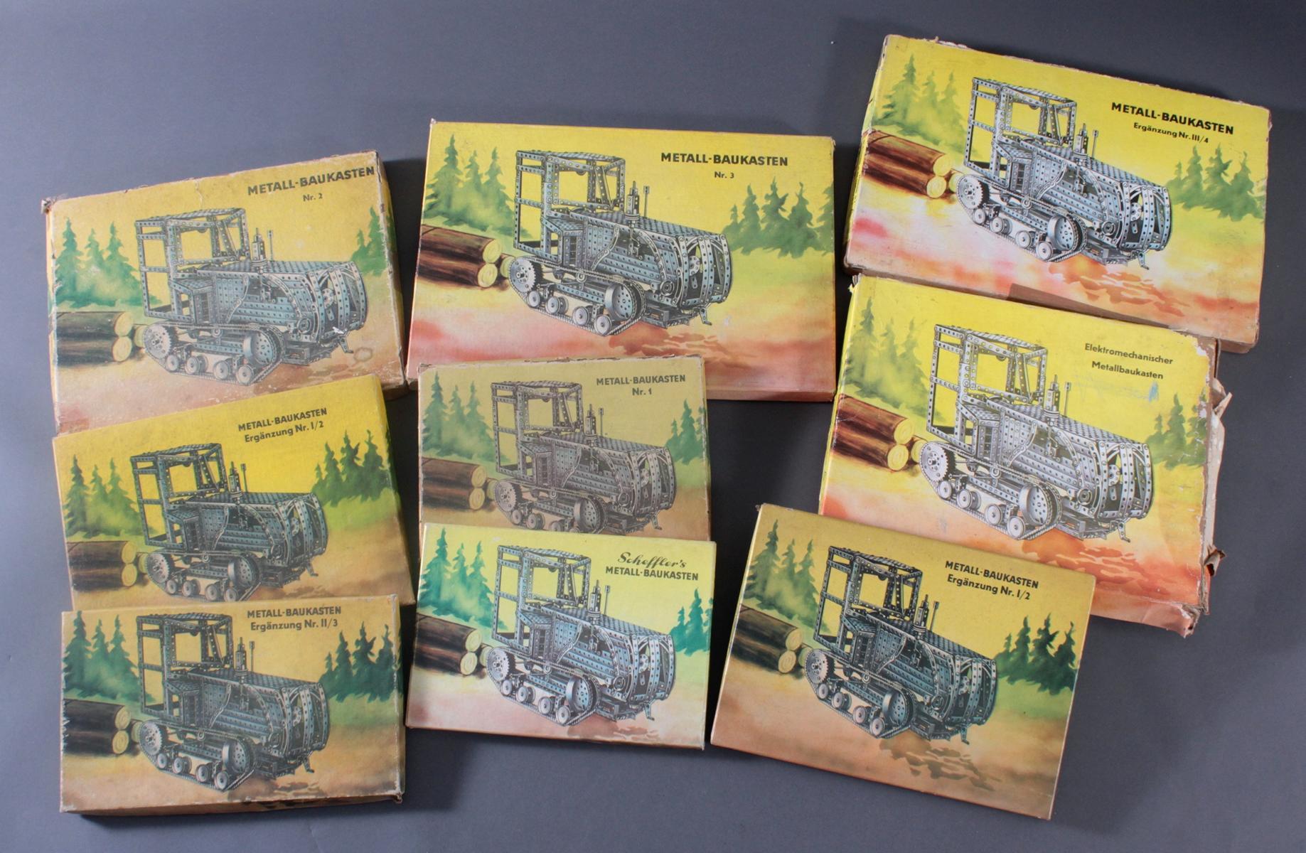Schefflers Metallbaukästen, DDR, 9 Stück-5