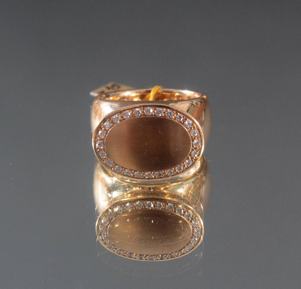 Damenring aus 18 Karat Gelbgold mit Diamanten von insg. ca. 0,24 Karat