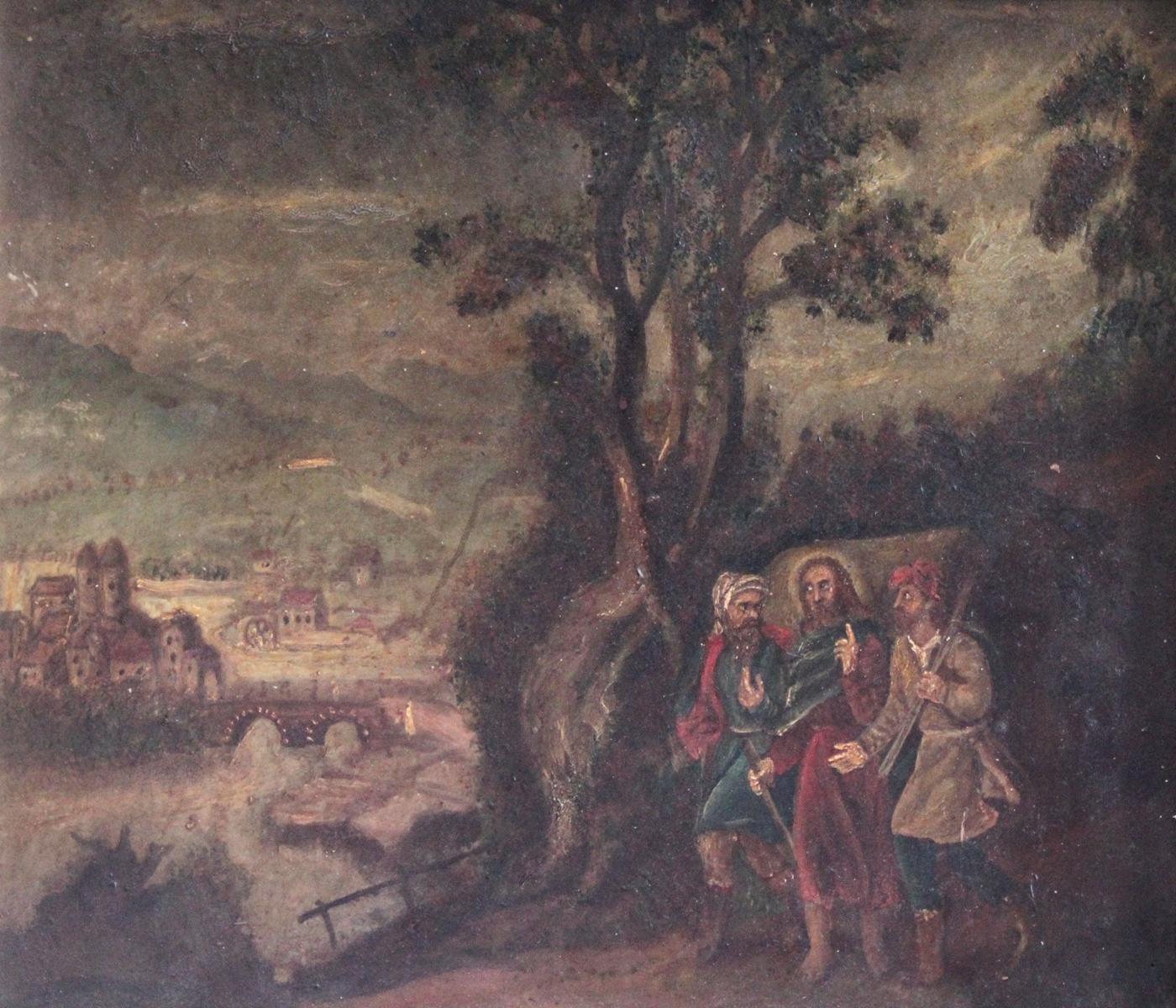 Religiöses Gemälde, 19. Jahrhundert. Unbekannter Künstler-3