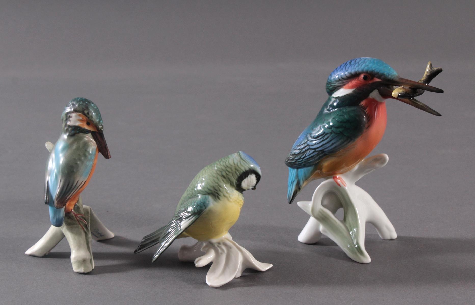 Drei Porzellan Vögel, ENS und Goebel-2