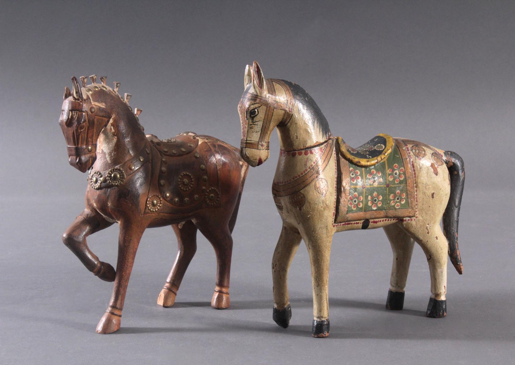 2 Pferdeskulpturen aus Holz 1. Hälfte 20. Jh.-2