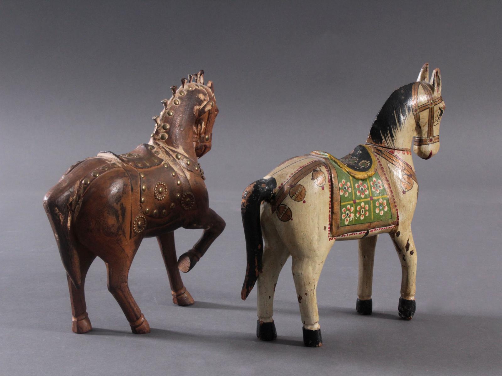 2 Pferdeskulpturen aus Holz 1. Hälfte 20. Jh.-3