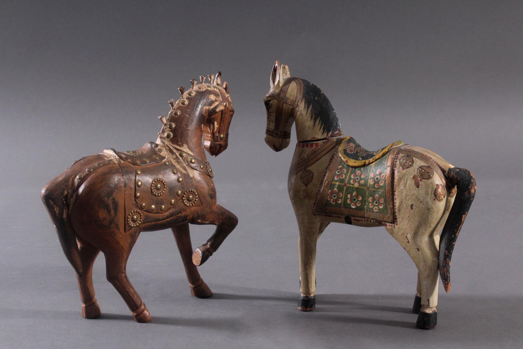 2 Pferdeskulpturen aus Holz 1. Hälfte 20. Jh.-4