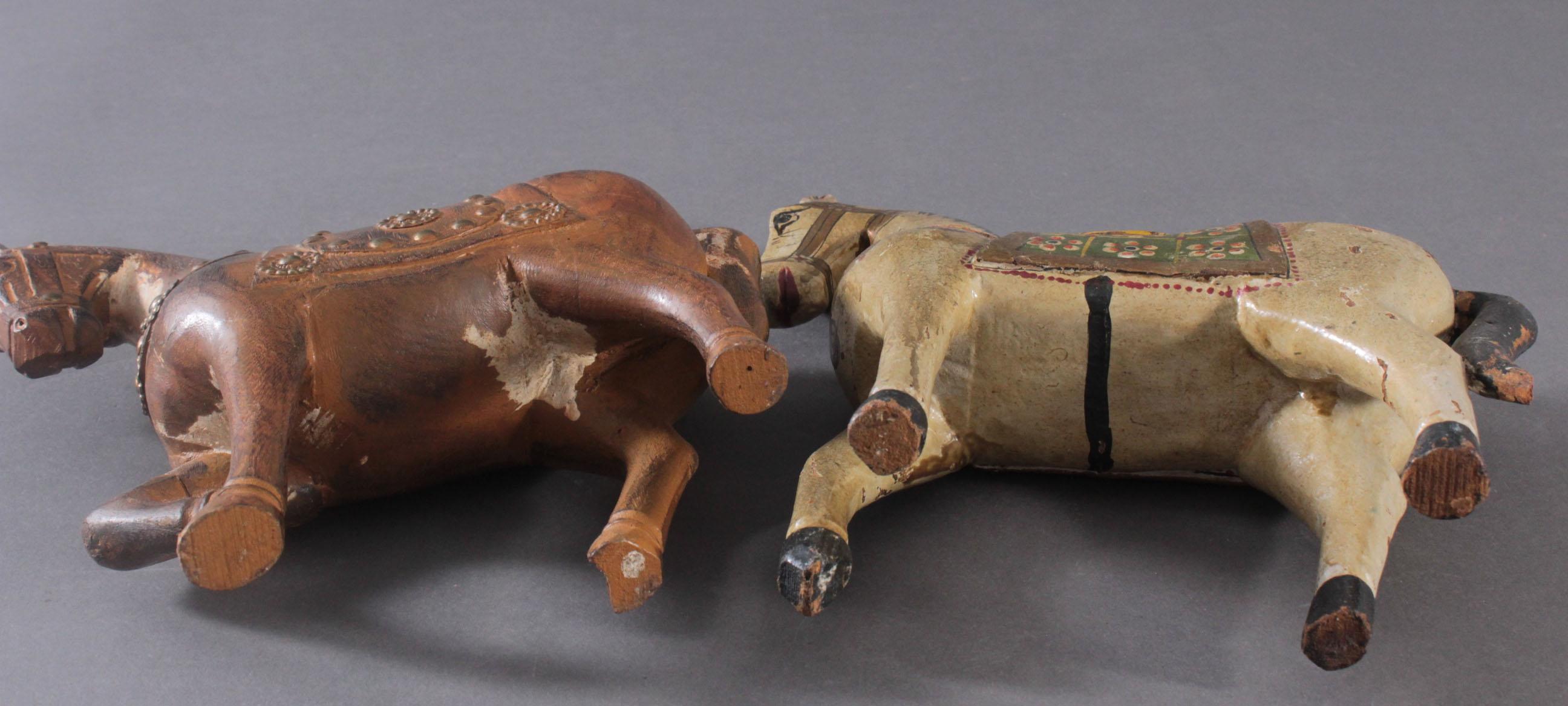 2 Pferdeskulpturen aus Holz 1. Hälfte 20. Jh.-8