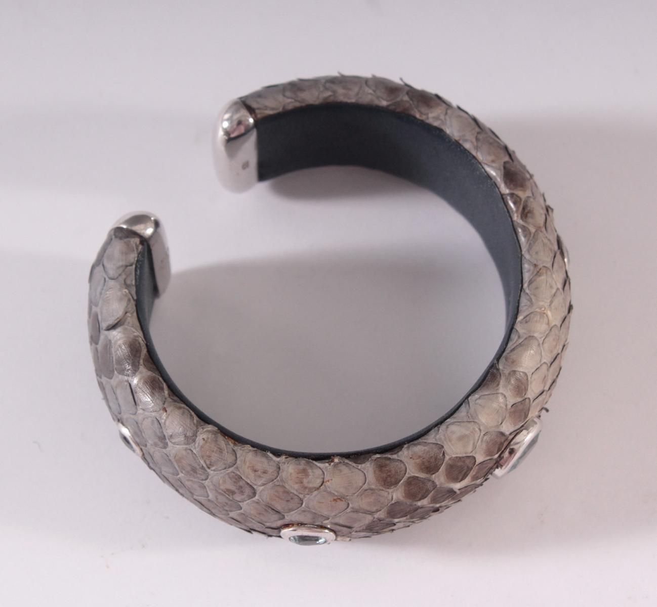 Schlangenleder-Armband mit Aquamarinen und Sterlingsilber-Montur-2