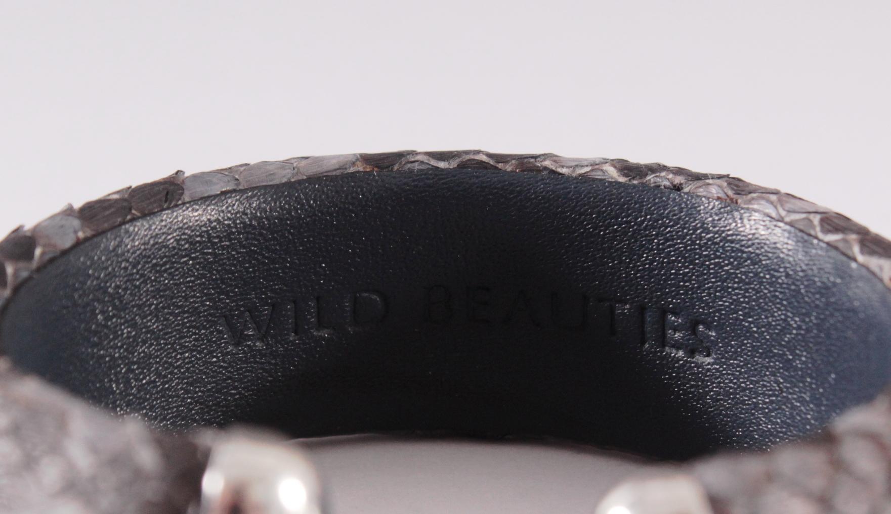 Schlangenleder-Armband mit Aquamarinen und Sterlingsilber-Montur-3