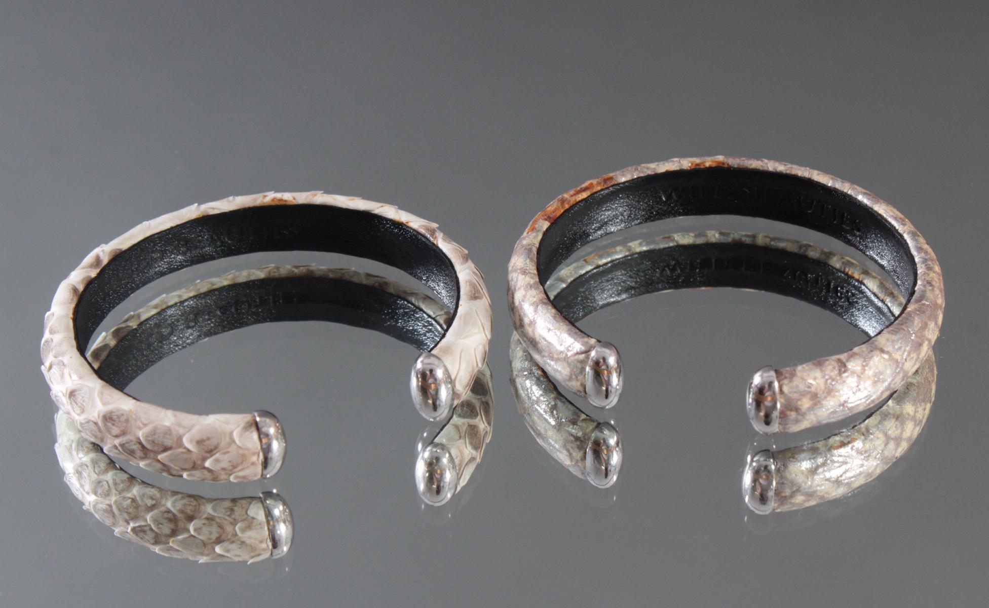 2 Schlangenleder-Armbänder mit Sterlingsilber-Montur-2