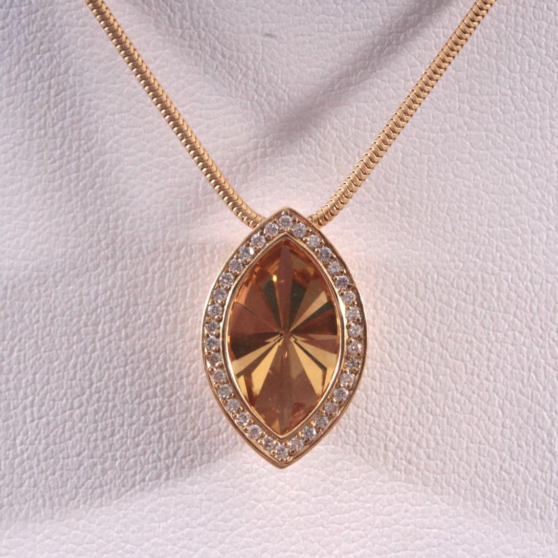Halskette mit Citrin-Anhänger und Diamanten 18 Karat Gelbgold-2