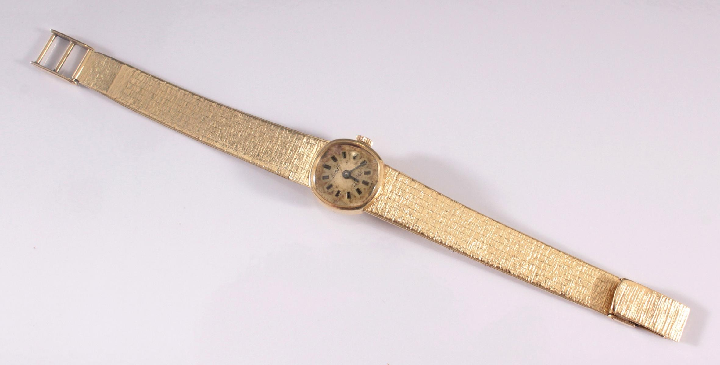 Damenarmbanduhr der Marke Drafa aus 14 Karat Gelbgold