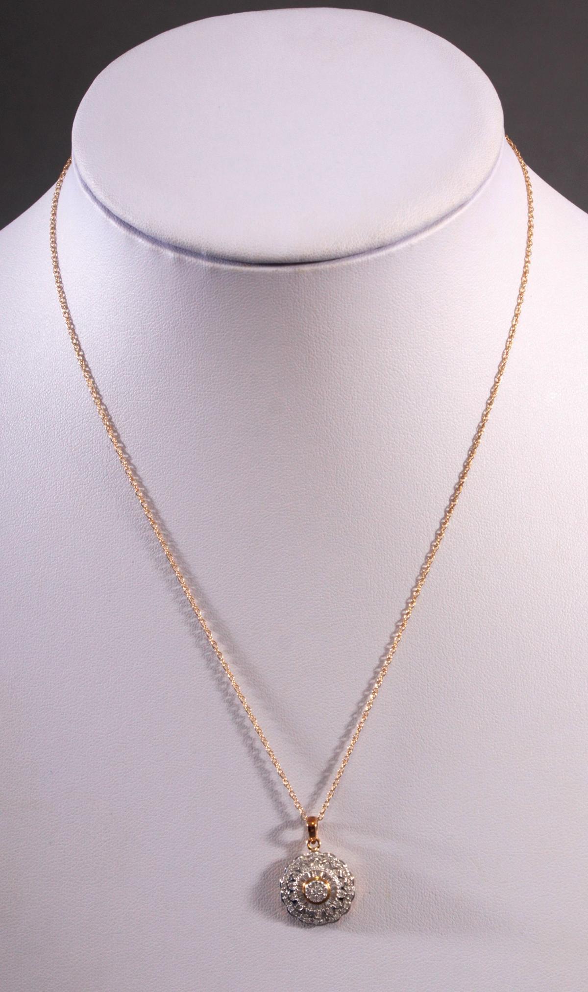 Halskette mit Diamantanhänger aus 8 Karat Weiß- und Gelbgold