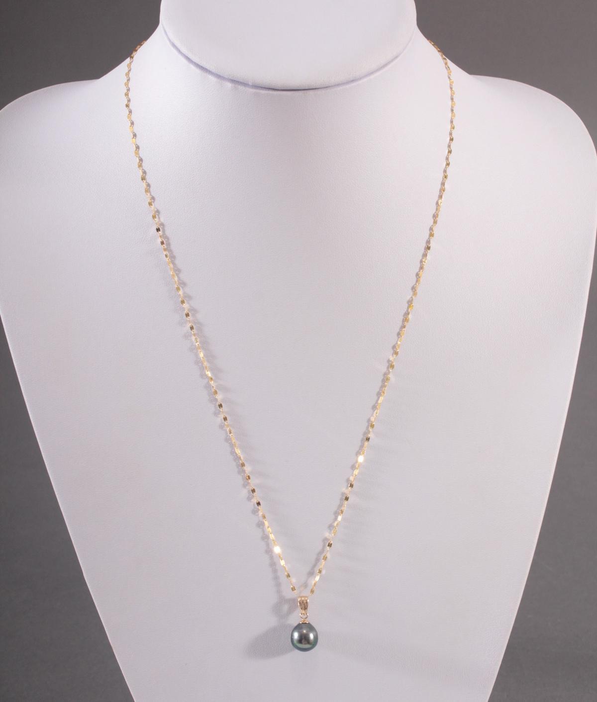 Halskette mit Tahitiperle, 14 und 18 Karat Gelbgold