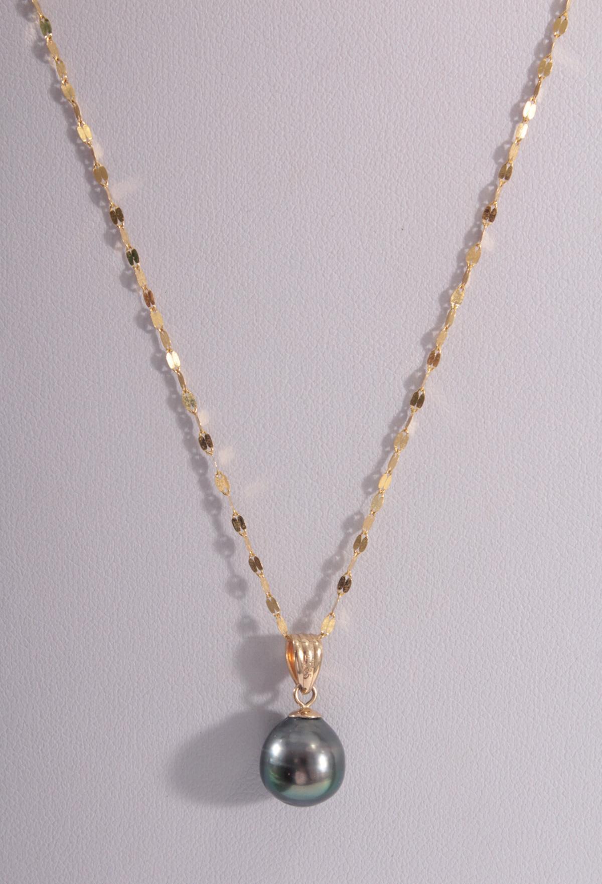 Halskette mit Tahitiperle, 14 und 18 Karat Gelbgold-2