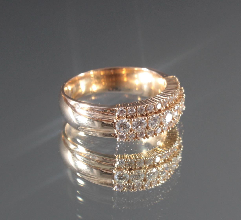 Damenring mit Diamanten aus 14 Karat Gelbgold-2
