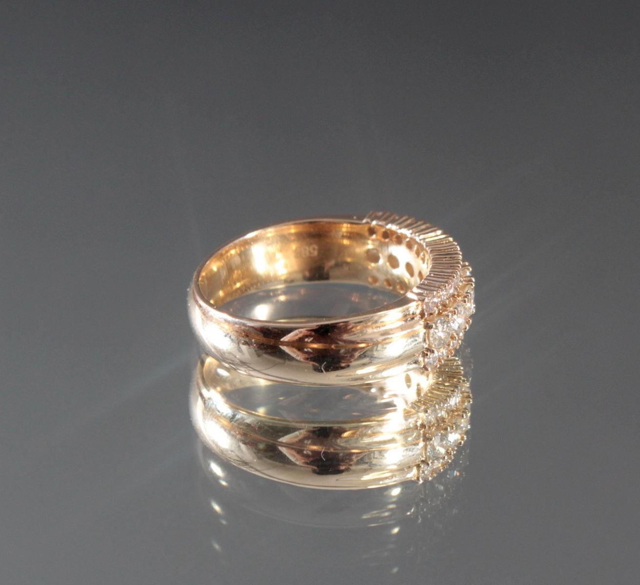 Damenring mit Diamanten aus 14 Karat Gelbgold-3