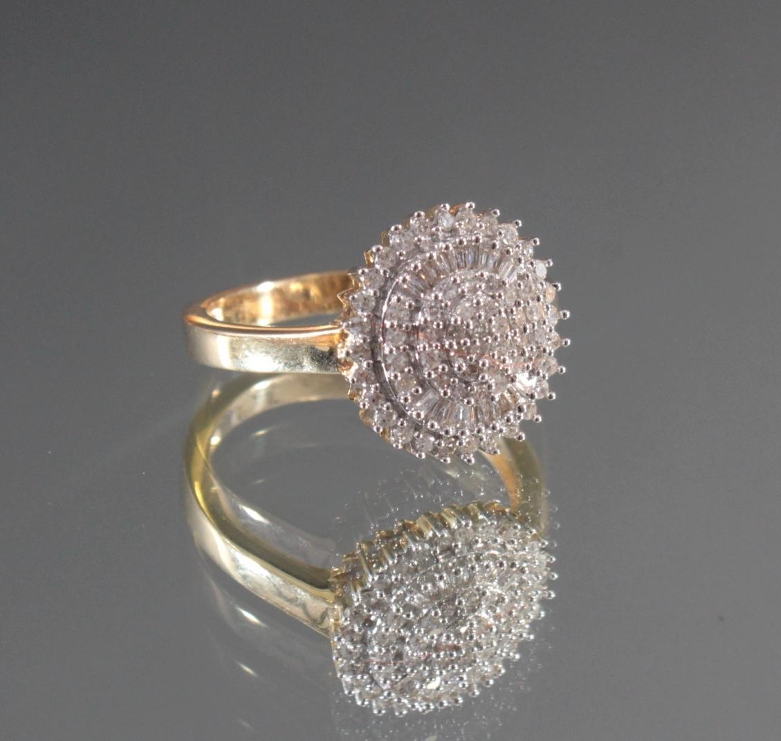 Damenring mit Diamanten aus 14 Karat Weiß- und Gelbgold-2