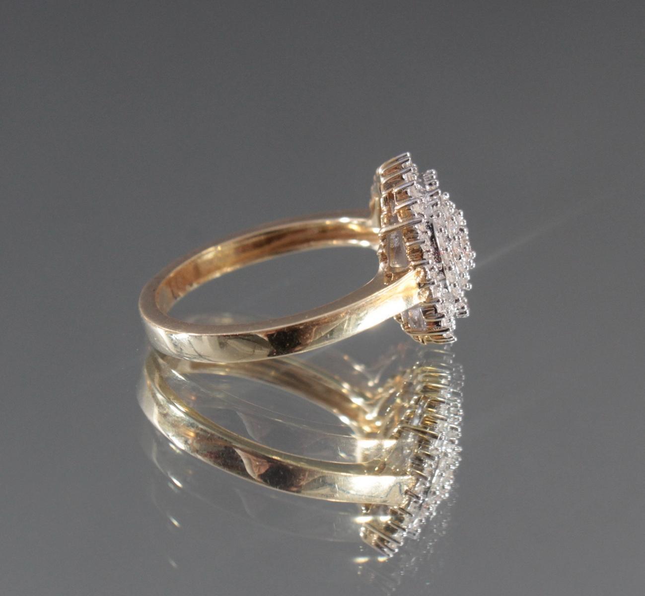 Damenring mit Diamanten aus 14 Karat Weiß- und Gelbgold-3