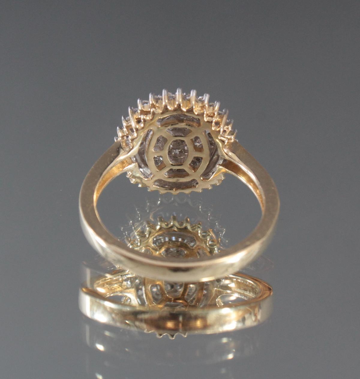 Damenring mit Diamanten aus 14 Karat Weiß- und Gelbgold-4