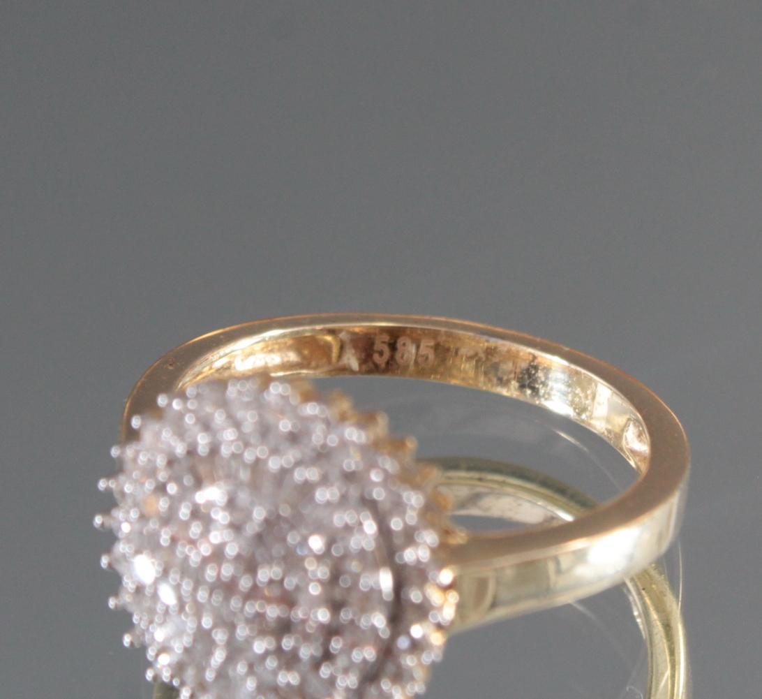 Damenring mit Diamanten aus 14 Karat Weiß- und Gelbgold-5