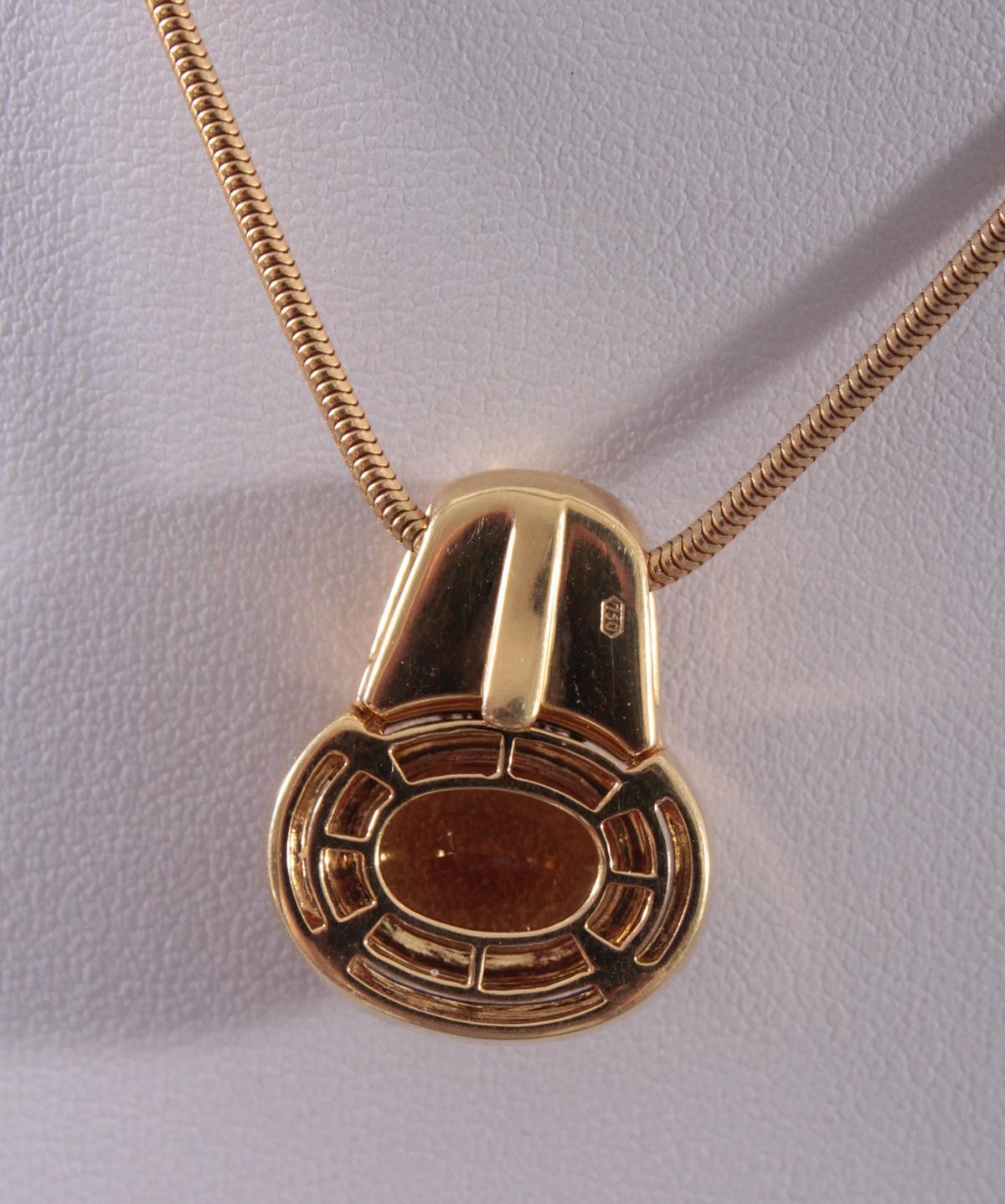 Halskette mit Citrinanhänger aus 18 Karat Gelbgold-3