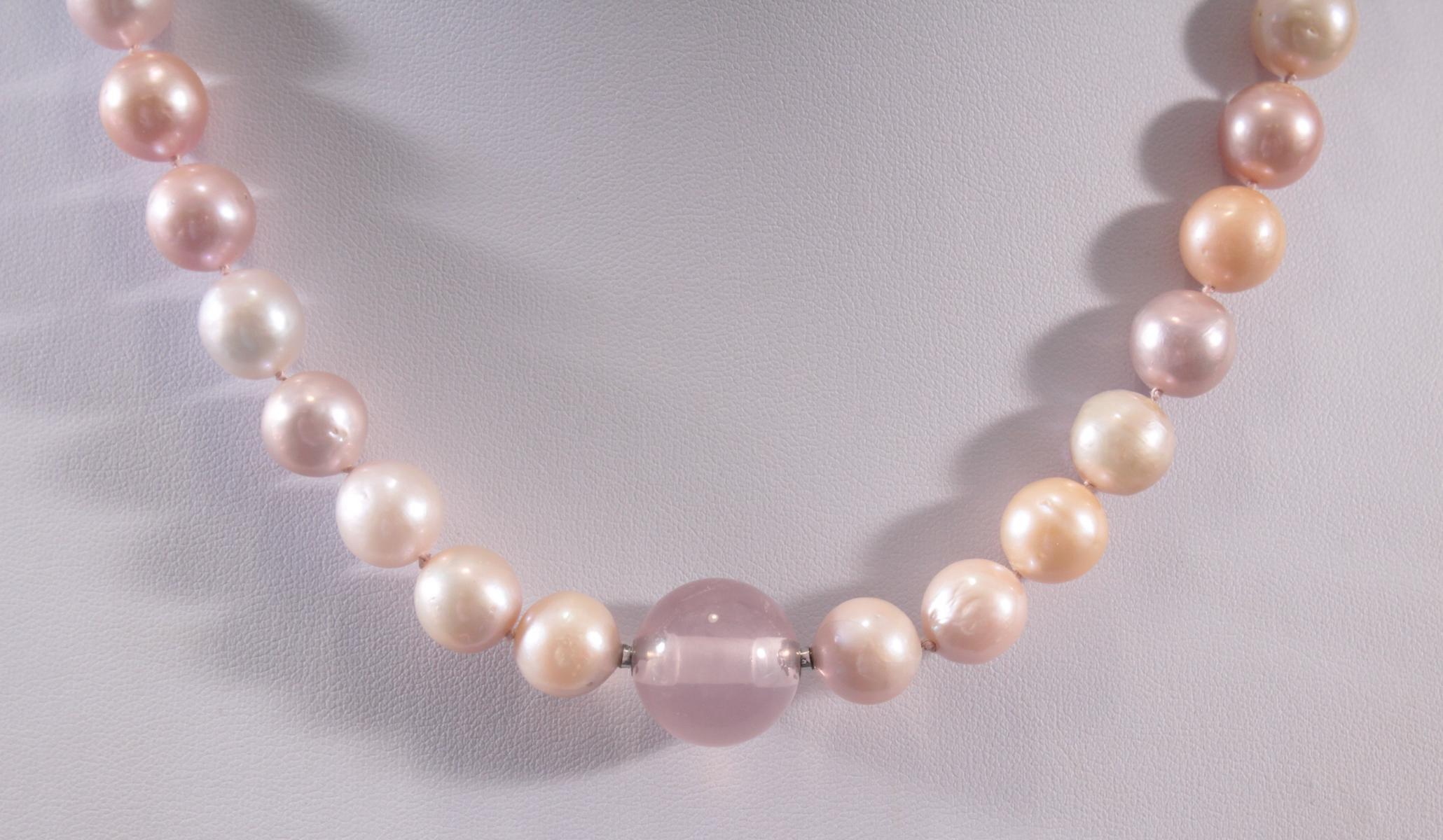Perlenkette mit Rosenquarz-2