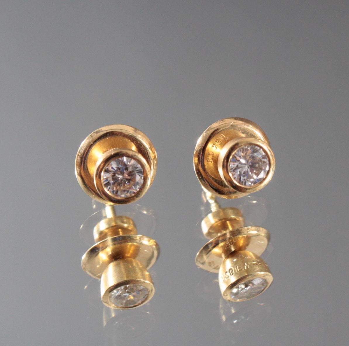 Paar Ohrringe aus 18 Karat Gelbgold mit Diamanten