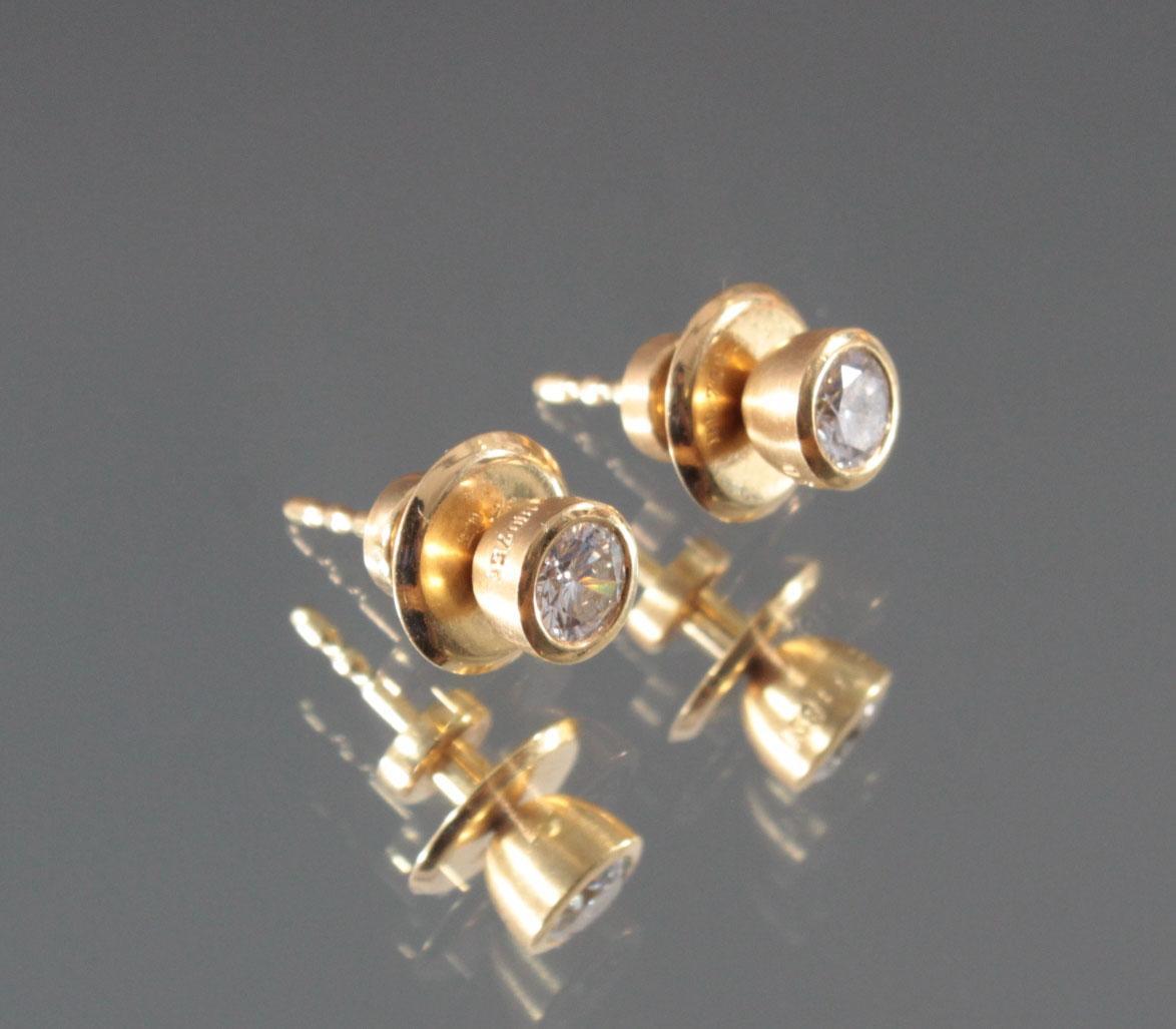 Paar Ohrringe aus 18 Karat Gelbgold mit Diamanten-2