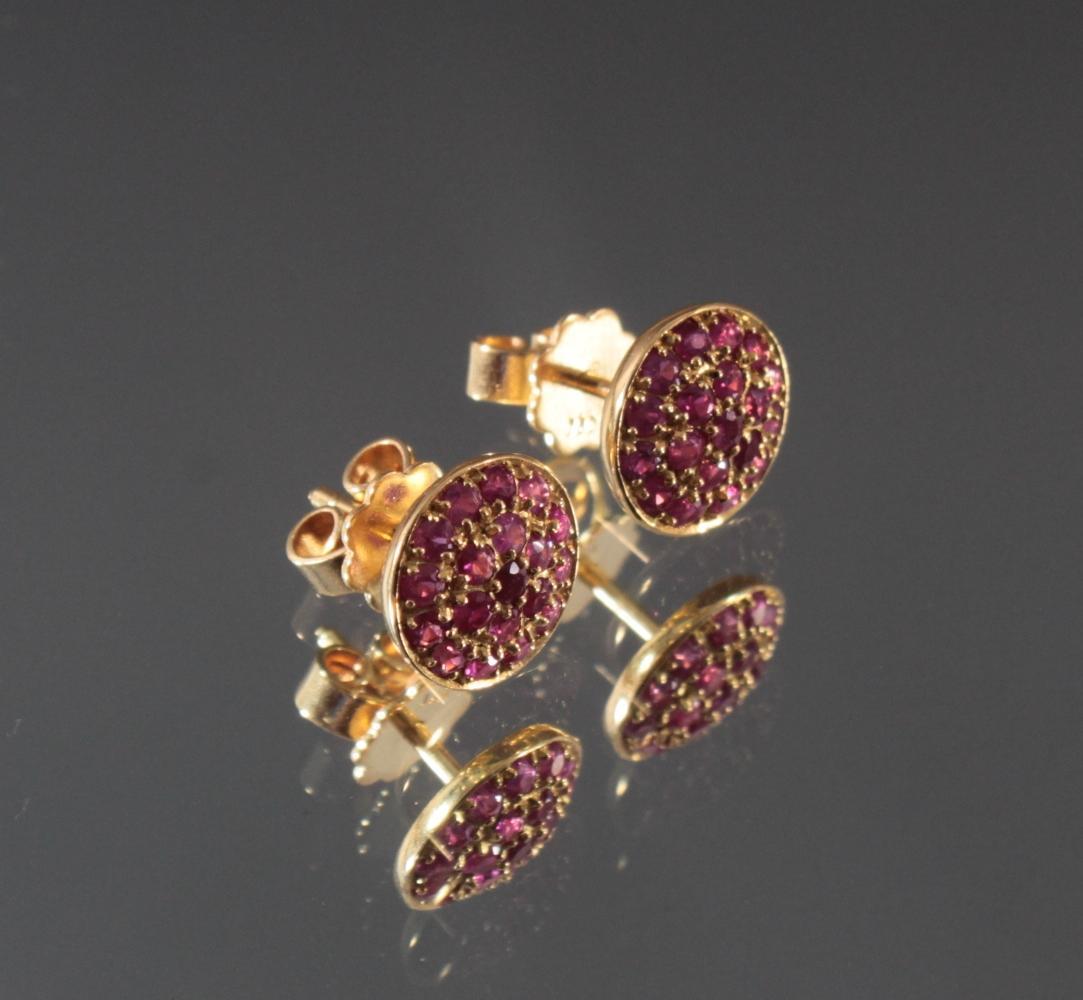 Paar Ohrringe mit Rubinen aus 18 Karat Gelbgold-2