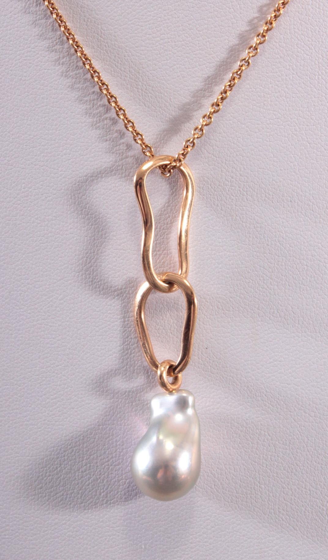 Halskette mit Süßwasserperlen-Anhänger aus 18 Karat Gelbgold, Schoeffel-2