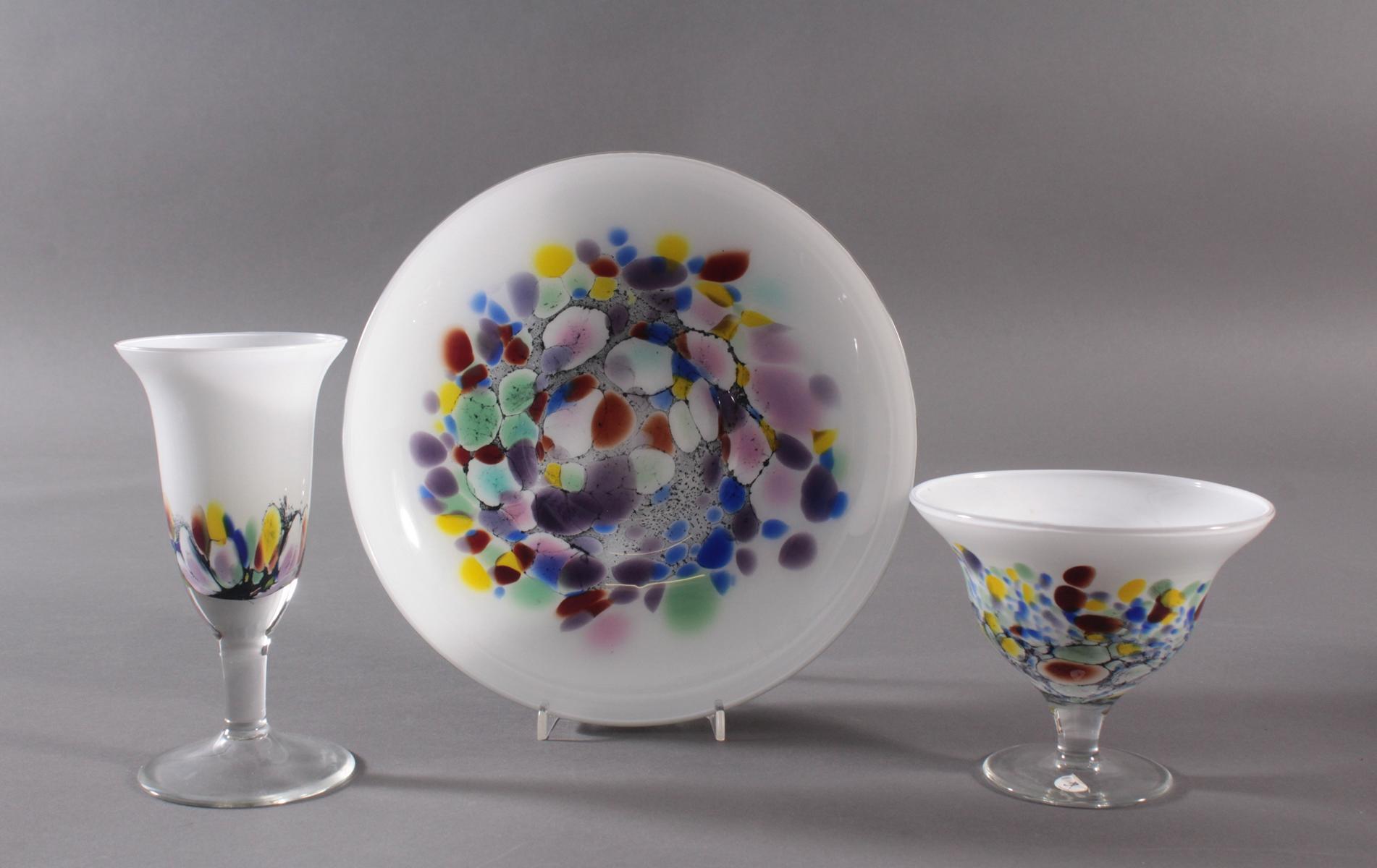 Behrendsohn Designerglas, 2 Anbietschalen und Kelch