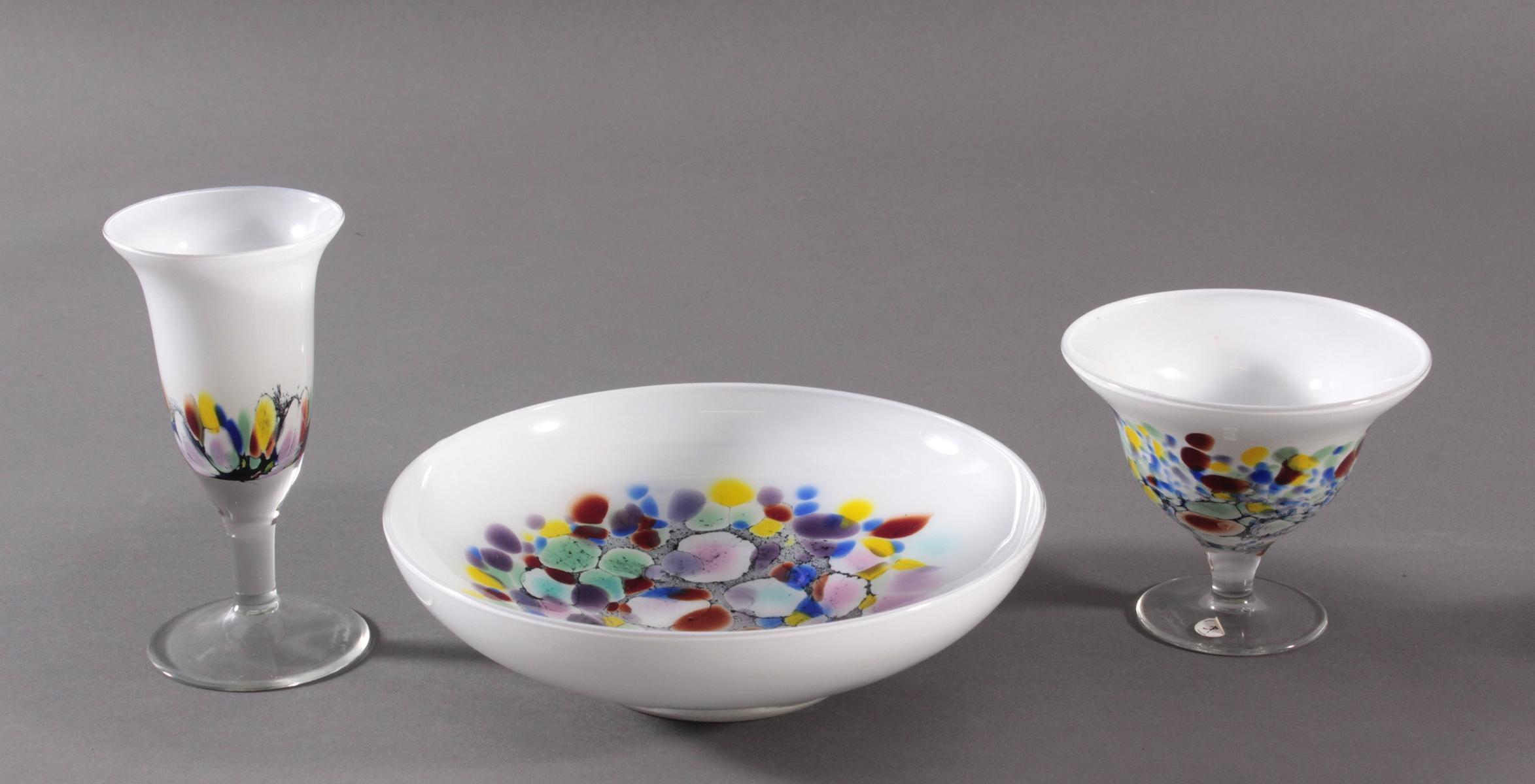 Behrendsohn Designerglas, 2 Anbietschalen und Kelch-2