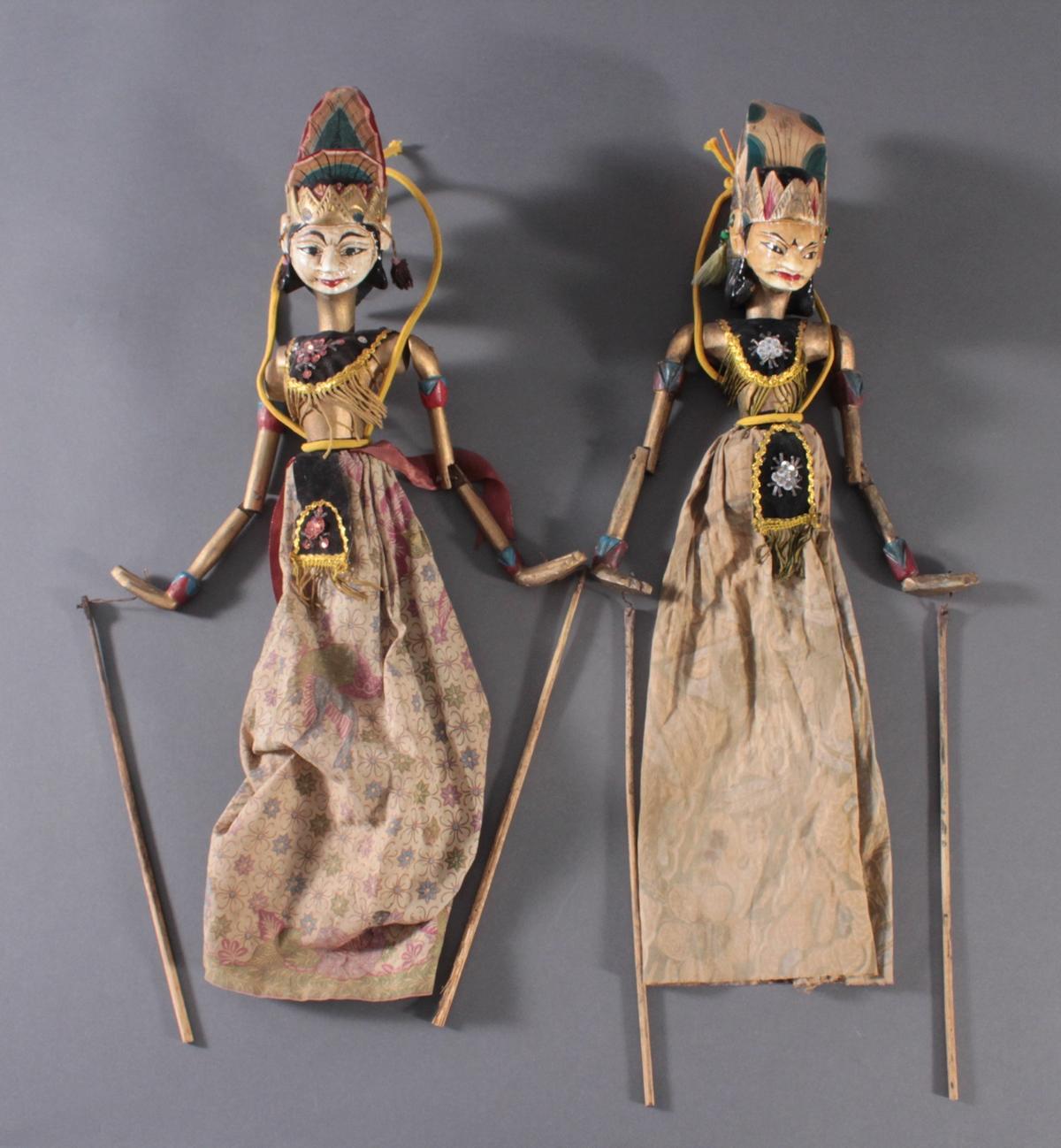 Paar indonesische Marionetten aus der 1. Hälfte des 19. Jh.