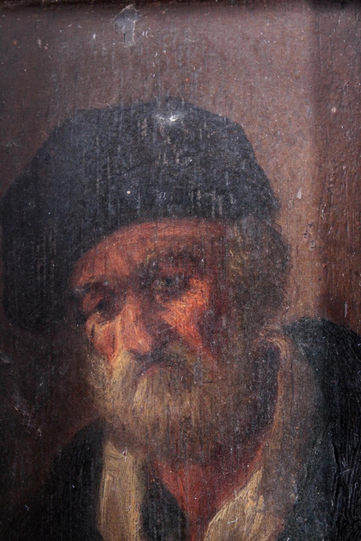Bildnis eines bärtigen älteren Herren mit Hut. 19. Jahrhundert-2