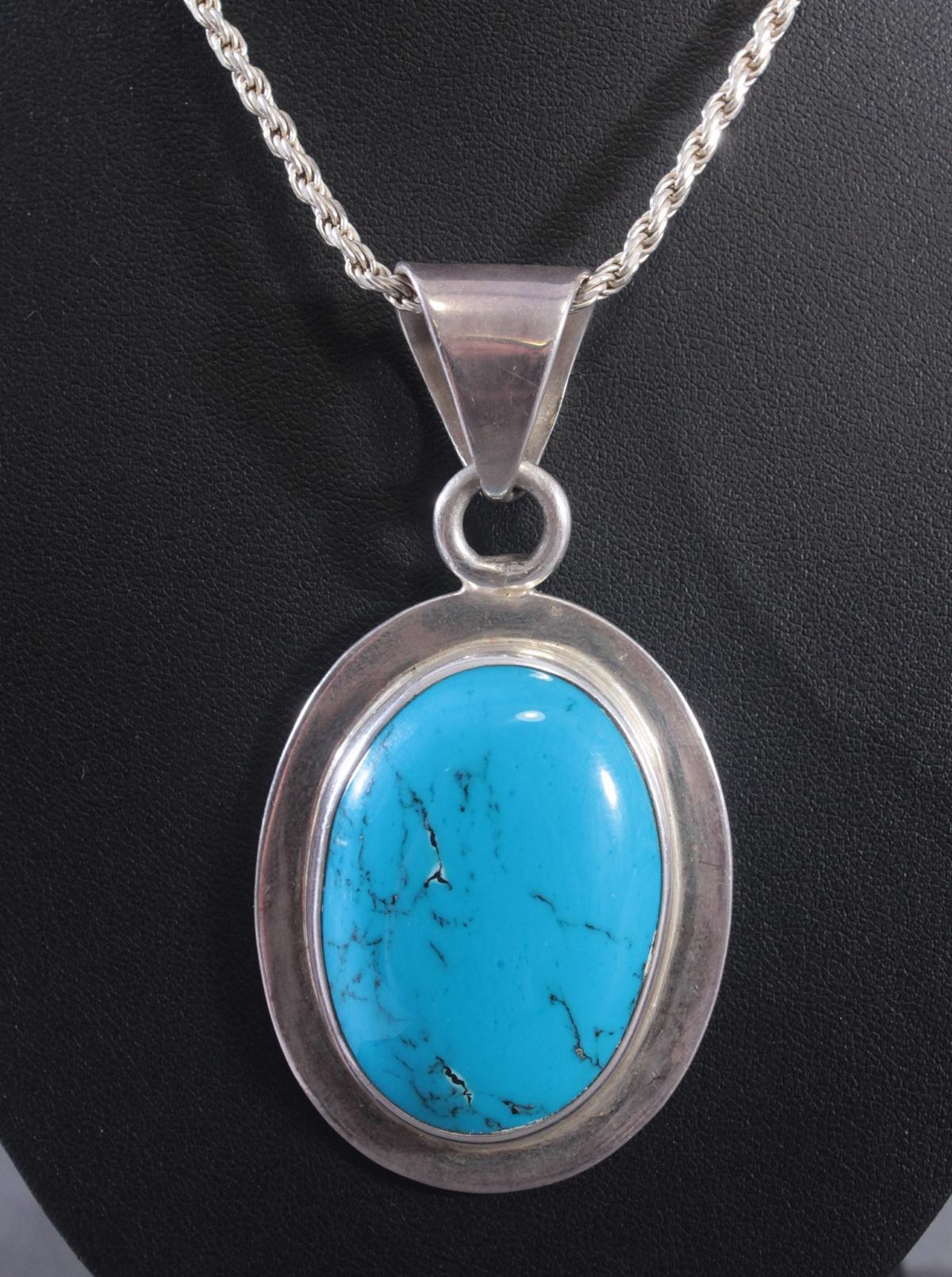 Silberne Halskette mit großem Türkisanhänger-2