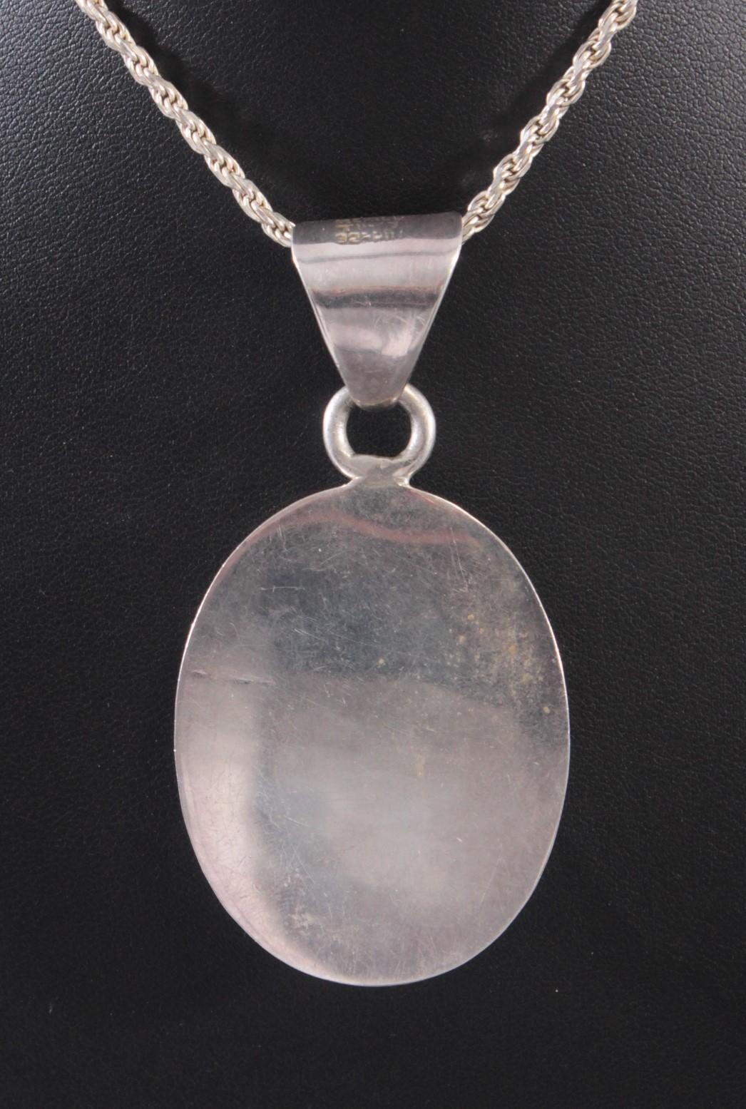 Silberne Halskette mit großem Türkisanhänger-3