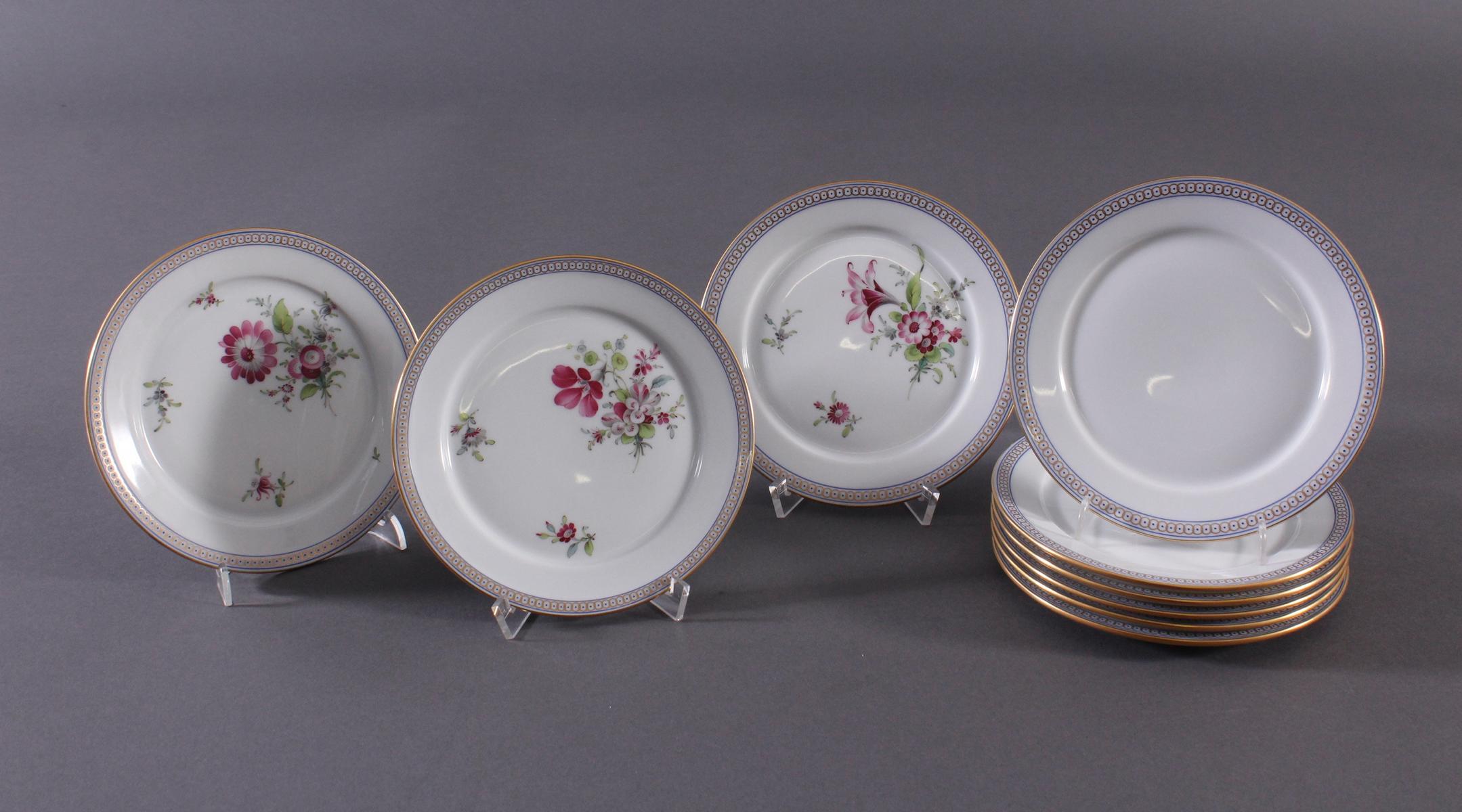 9 kleine Teller, Höchster Porzellan-Manufaktur