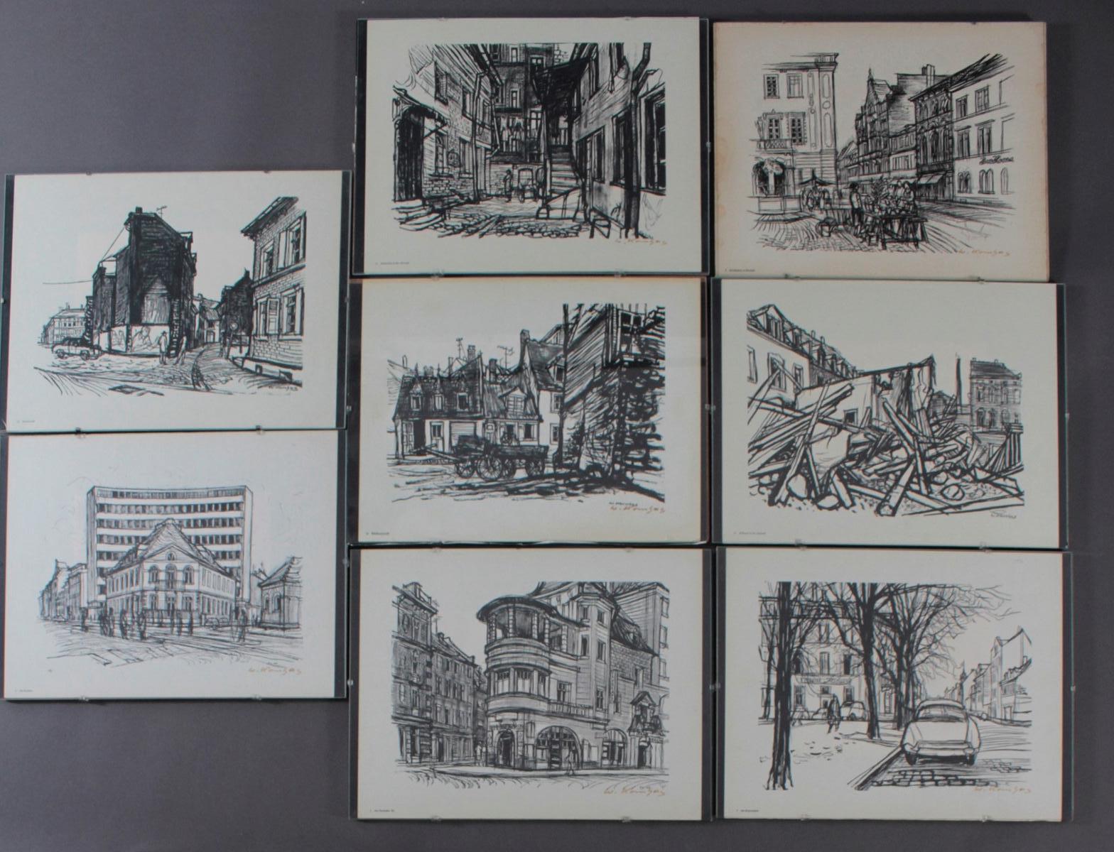 Werner Kornhas (1910-1992), 8 verschiedene Karlsruher Ansichten