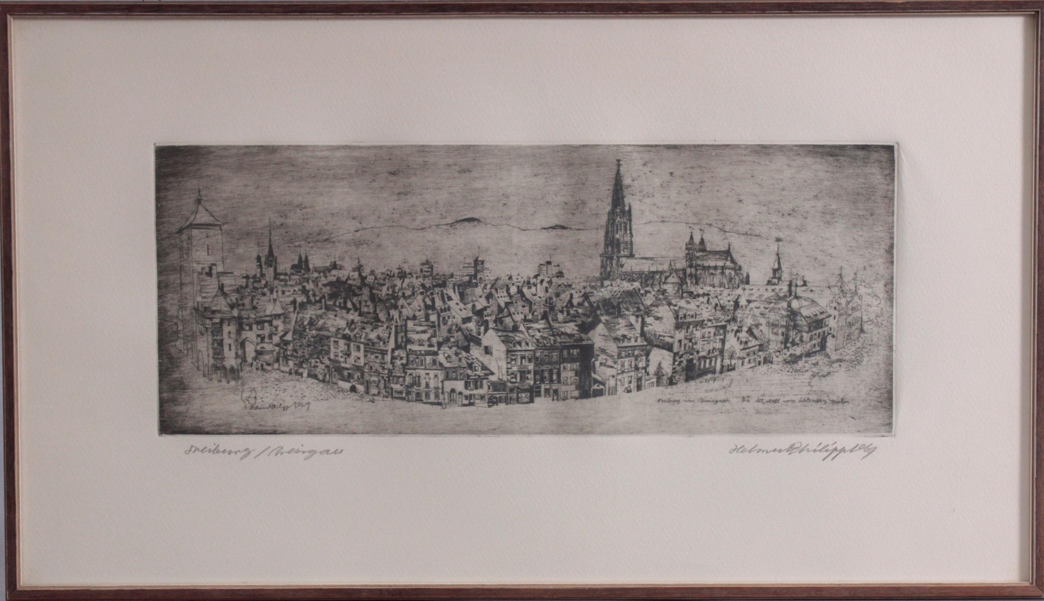 Helmut Philipp 1927 – 2008. Die Altstadt vom Schlossberg gesehen, Freiburg im Breisgau