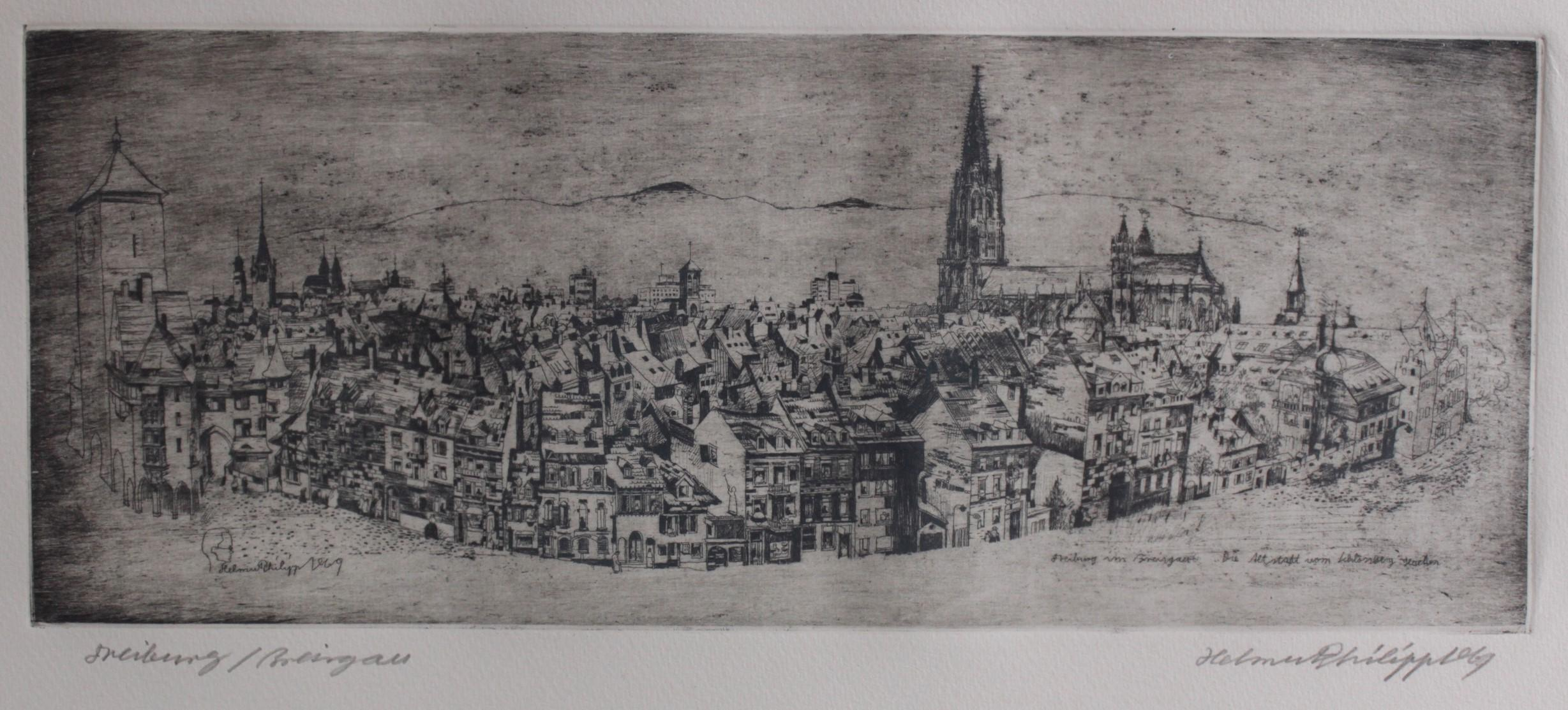 Helmut Philipp 1927 – 2008. Die Altstadt vom Schlossberg gesehen, Freiburg im Breisgau-2