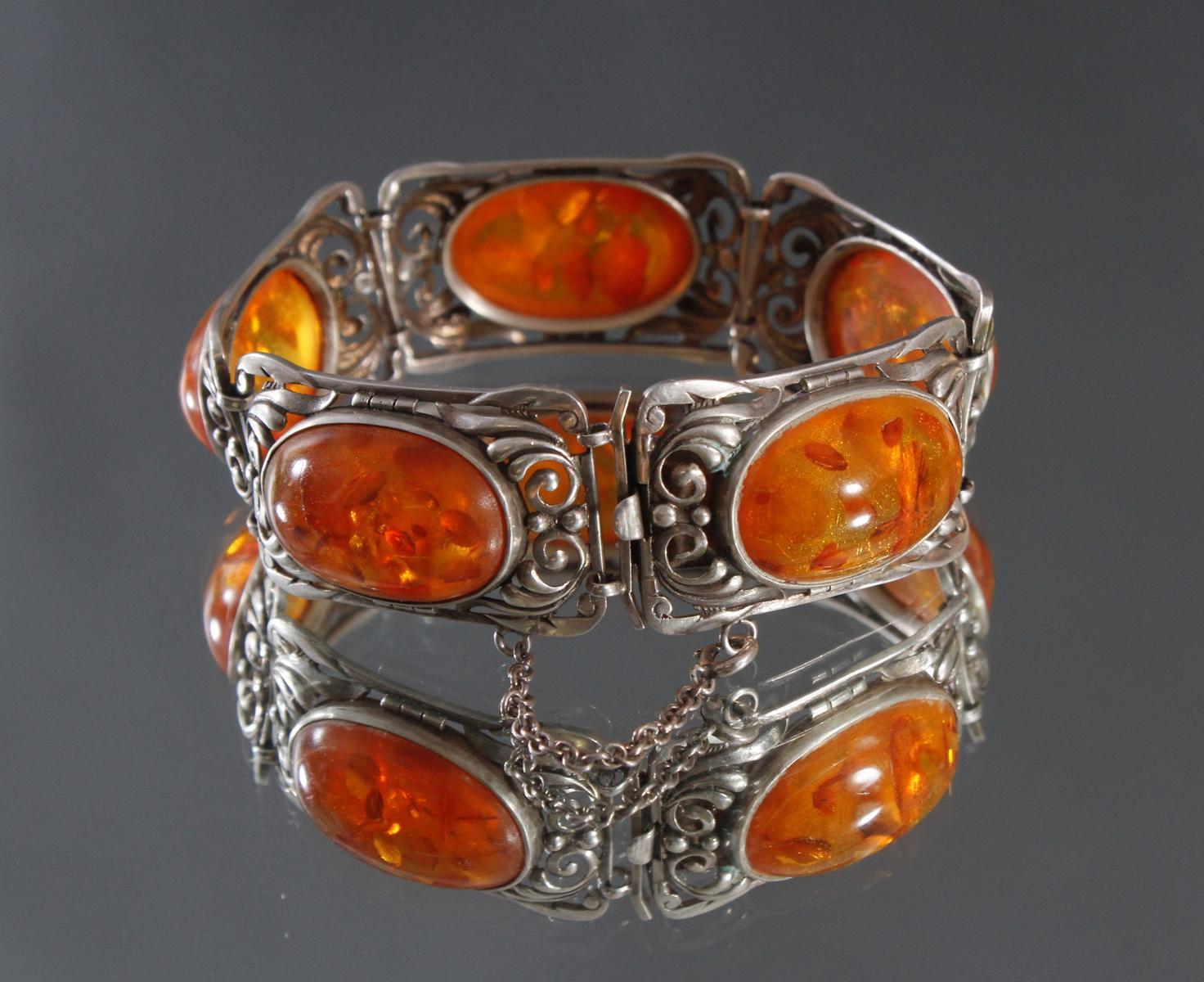 Antikes Silberarmband mit Bernsteincabochons-2