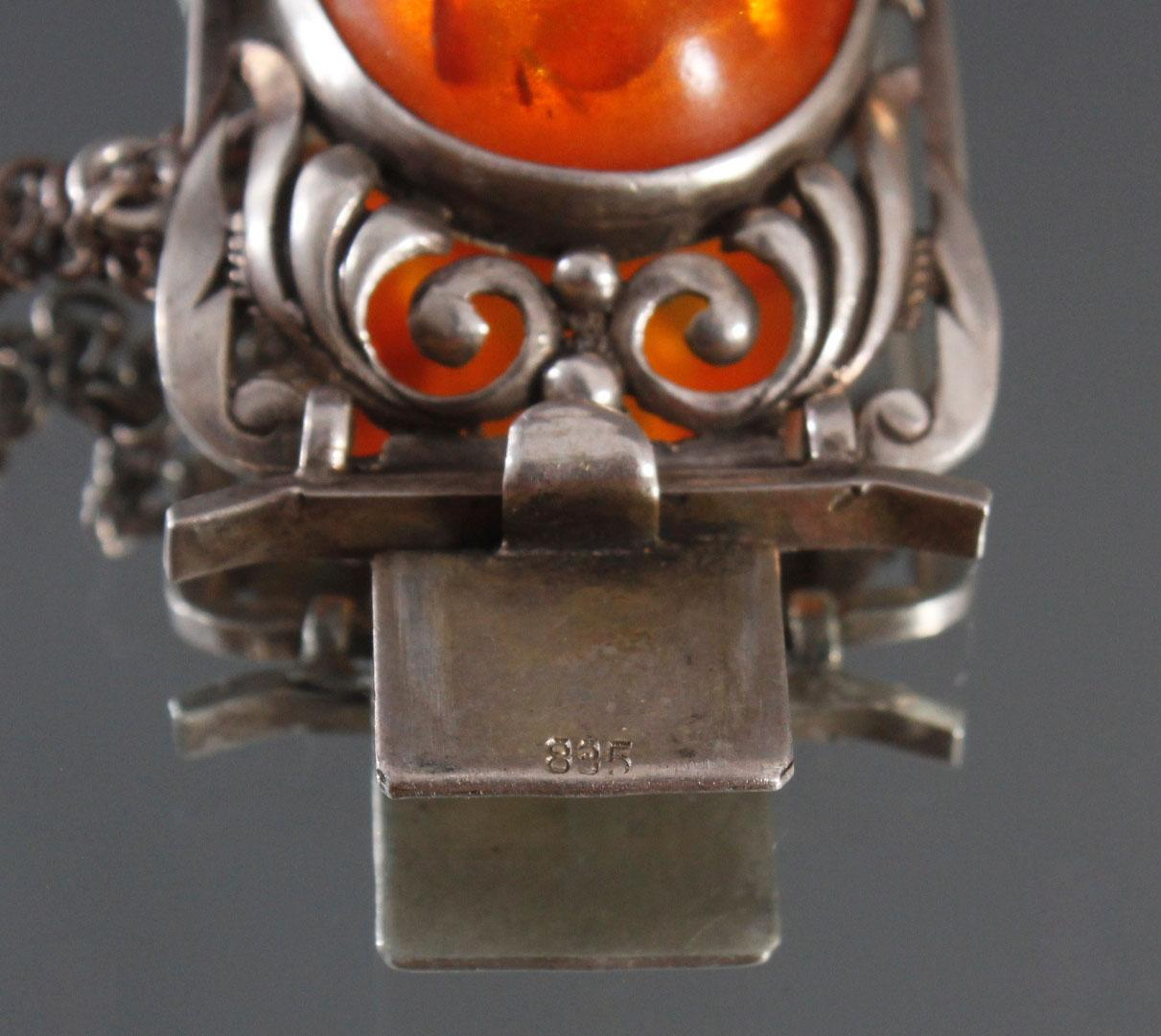 Antikes Silberarmband mit Bernsteincabochons-4