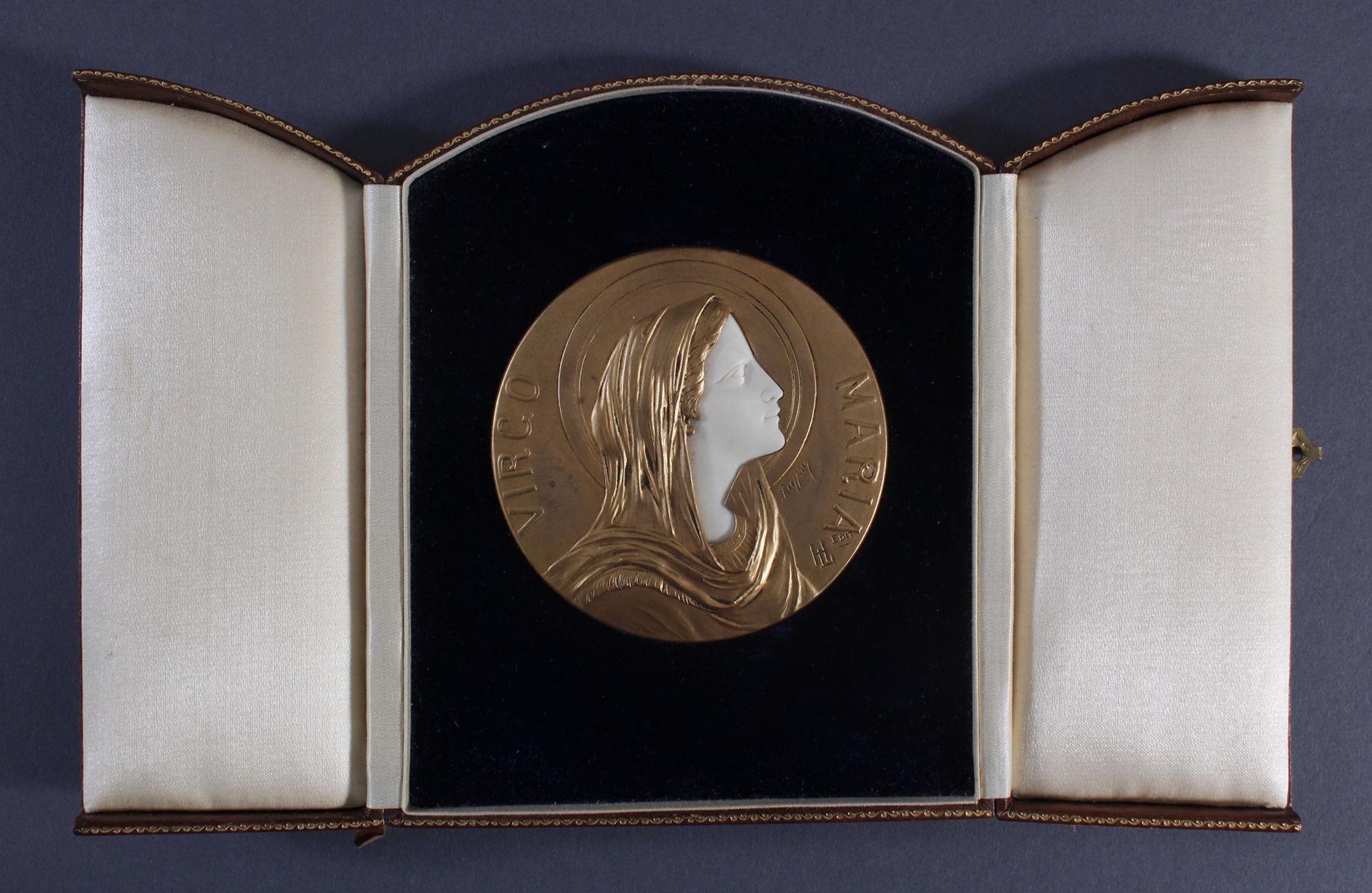 Bronzemedaille im Etui, Frankreich um 1900, signiert Ruffony, Virgo Maria