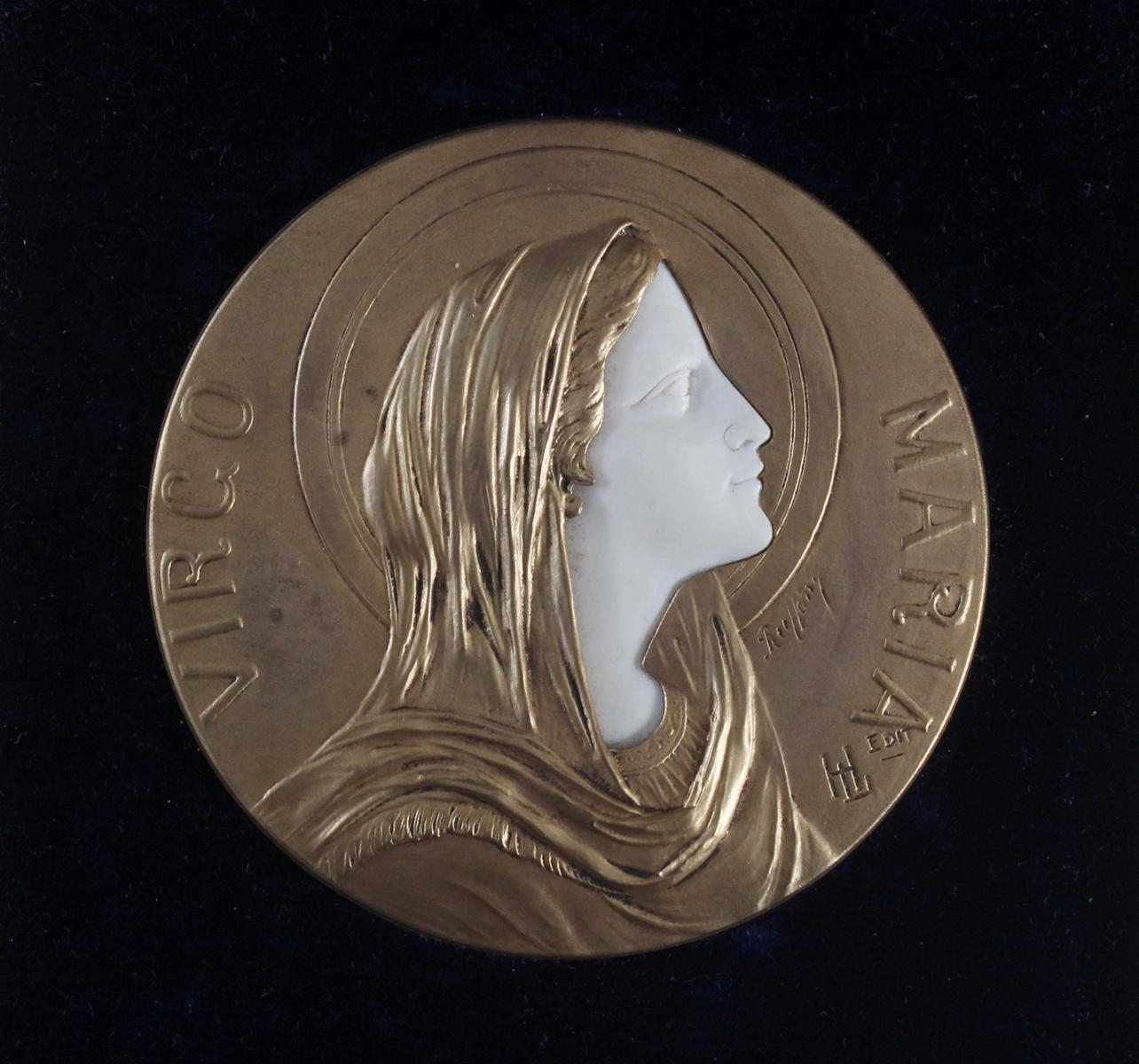 Bronzemedaille im Etui, Frankreich um 1900, signiert Ruffony, Virgo Maria-2