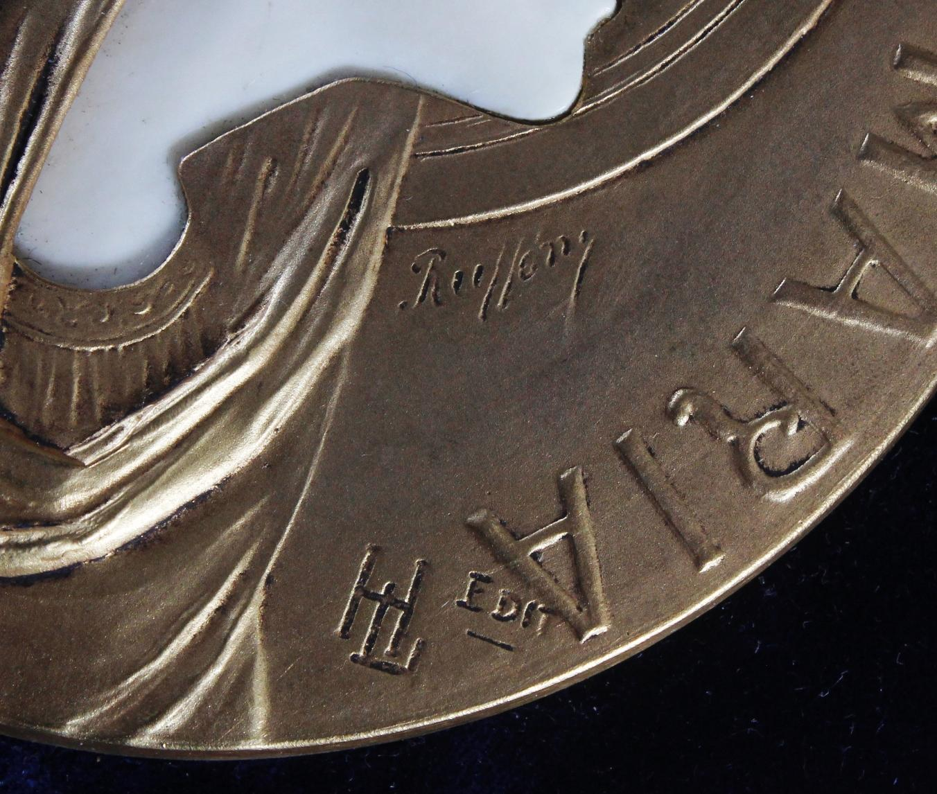 Bronzemedaille im Etui, Frankreich um 1900, signiert Ruffony, Virgo Maria-3