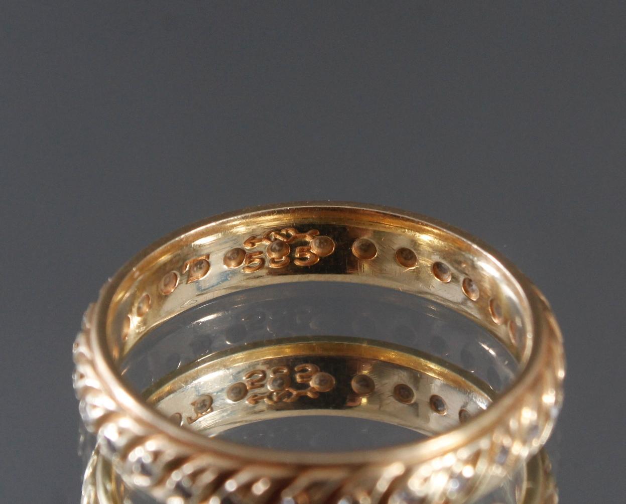 Memoryring mit Diamanten aus 14 Karat Gelbgold-2