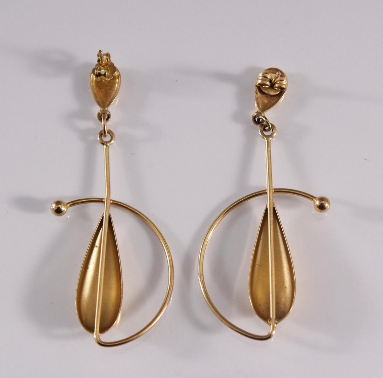 Paar Ohrgehänge, 8 Karat Gelbgold-2