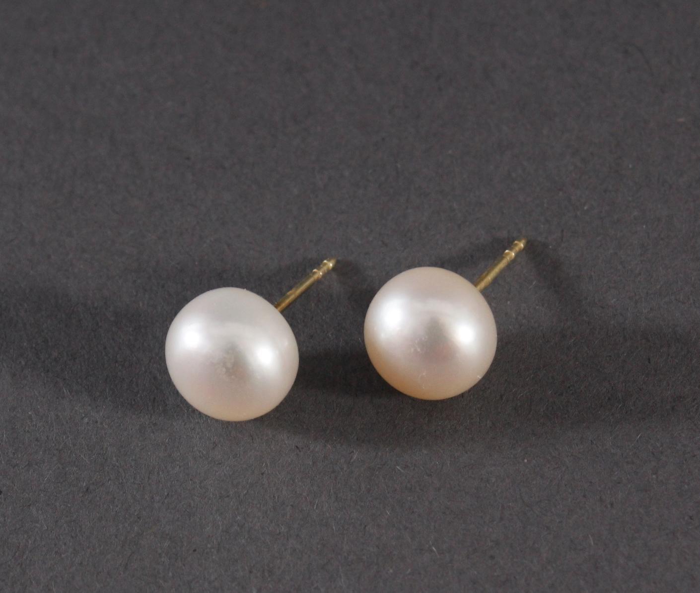 Paar Ohrringe mit Perlen, 14 Karat Gelbgold-2
