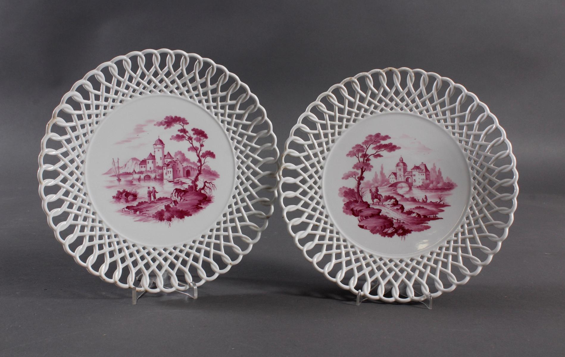 2 Prunkteller, Höchster Porzellanmanufaktur